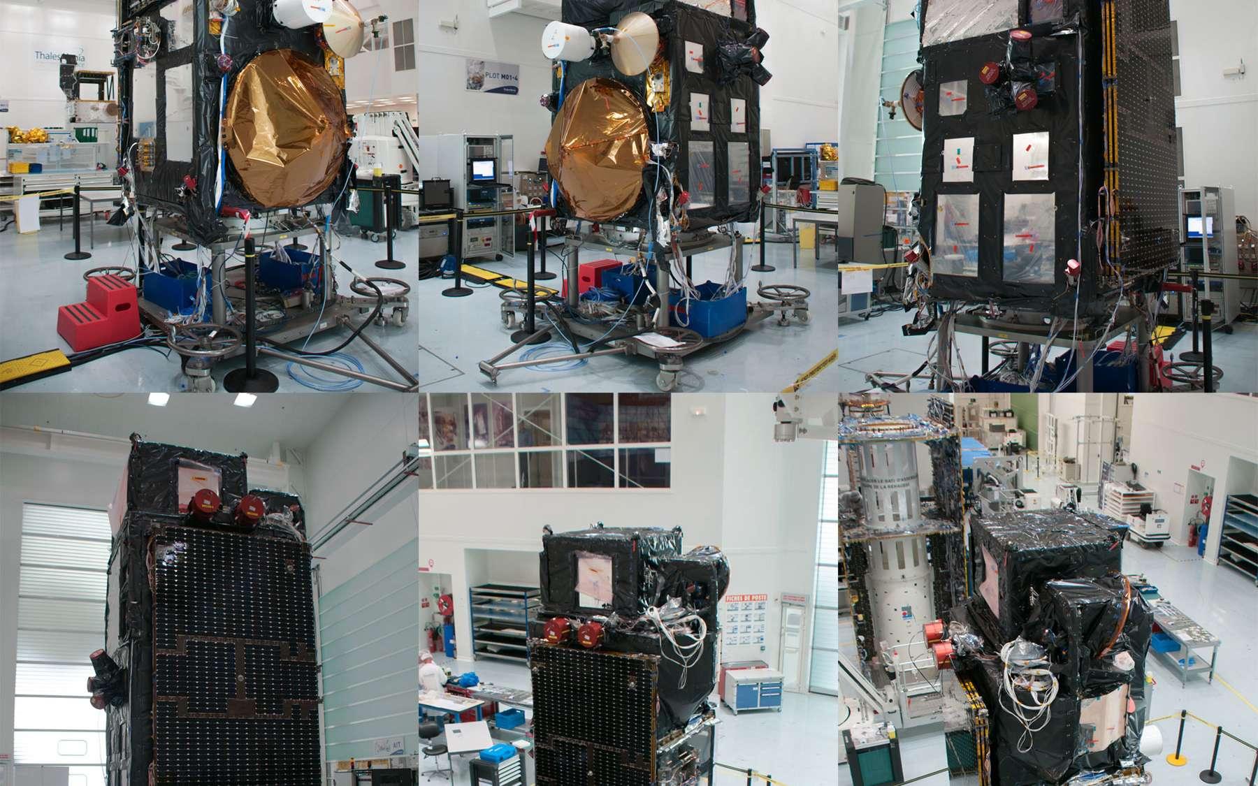 Le satellite d'observation de la Terre Sentinel 3 vu sous six angles différents dans l'usine cannoise de Thales Alenia Space. © Rémy Decourt