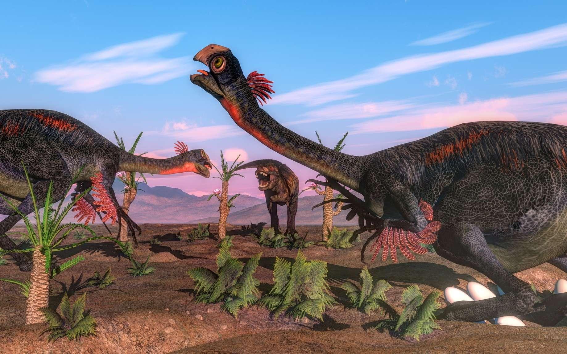 Les gros dinosaures devaient se poser au milieu de leurs œufs, disposés en rond autour d'eux. © Elenarts, Fotolia
