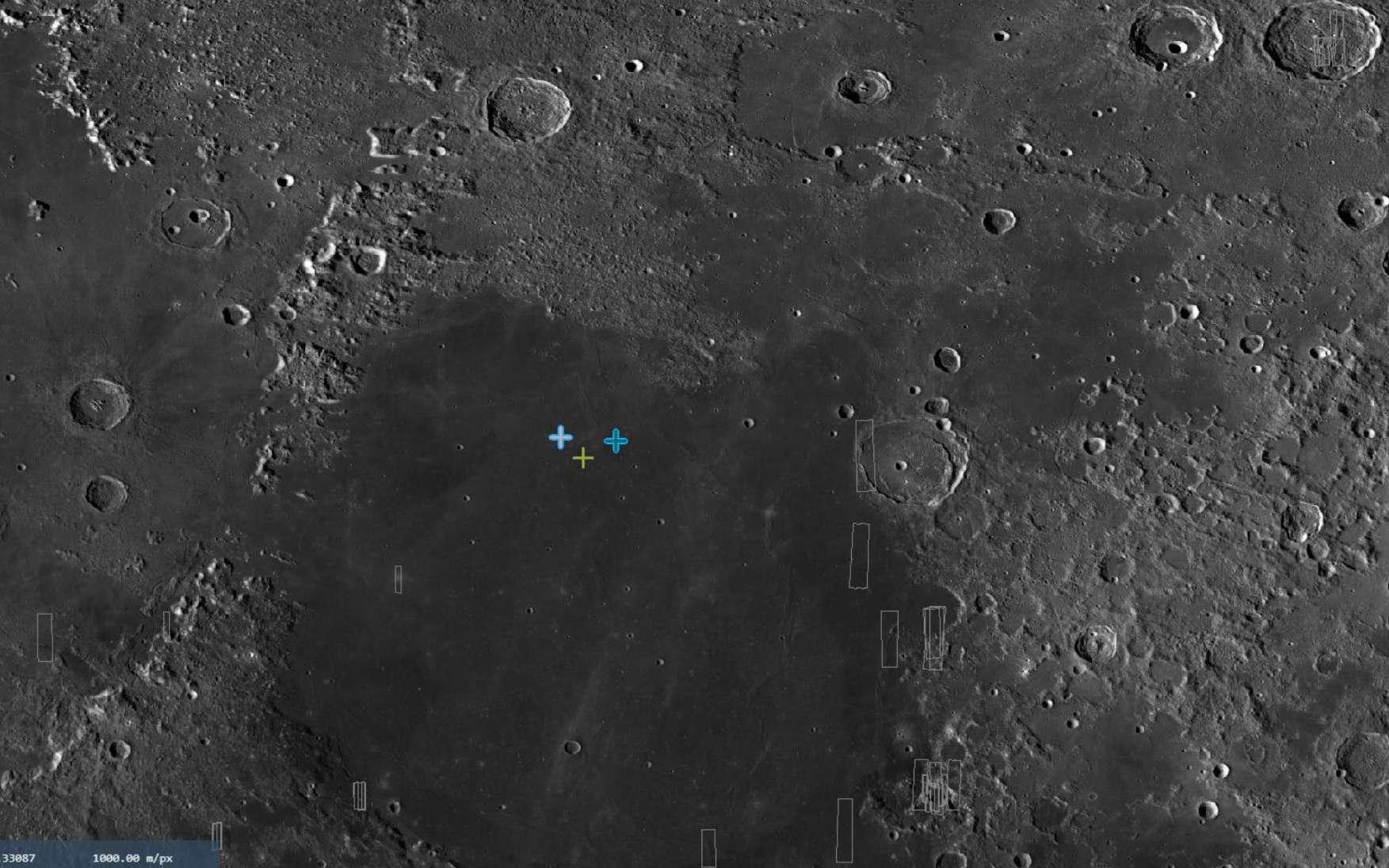 La zone d'atterrissage de Beresheet avec le site principal et deux sites de secours. © SpaceIL