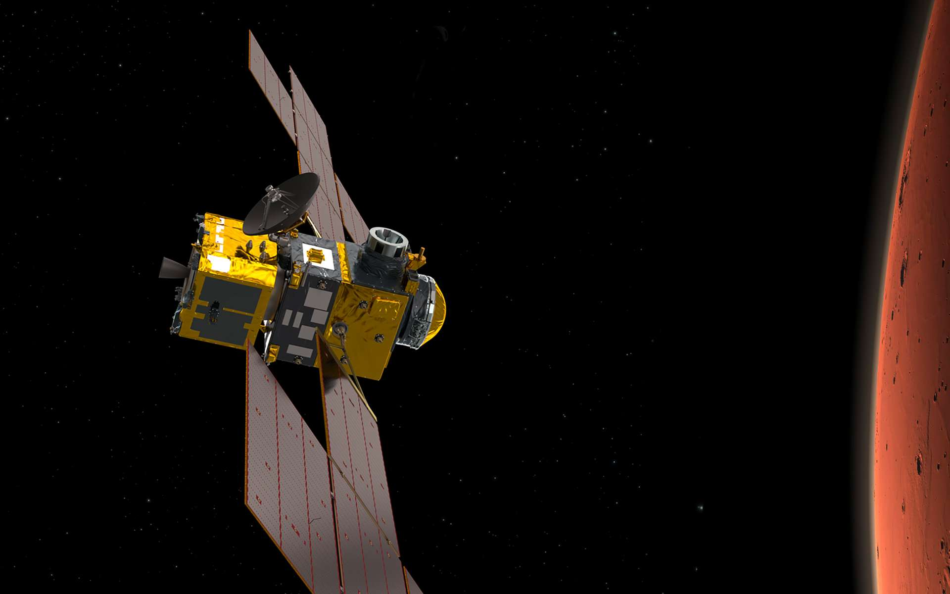 ERO (Earth Return Orbiter), le satellite de capture et de retour avec, à gauche, le module d'insertion en orbite (IOM). ERO, sera réalisé par Airbus et le module OIM par Thales Alenia Space sous la maîtrise d'œuvre d'Airbus. © ESA, ATG-Medialab