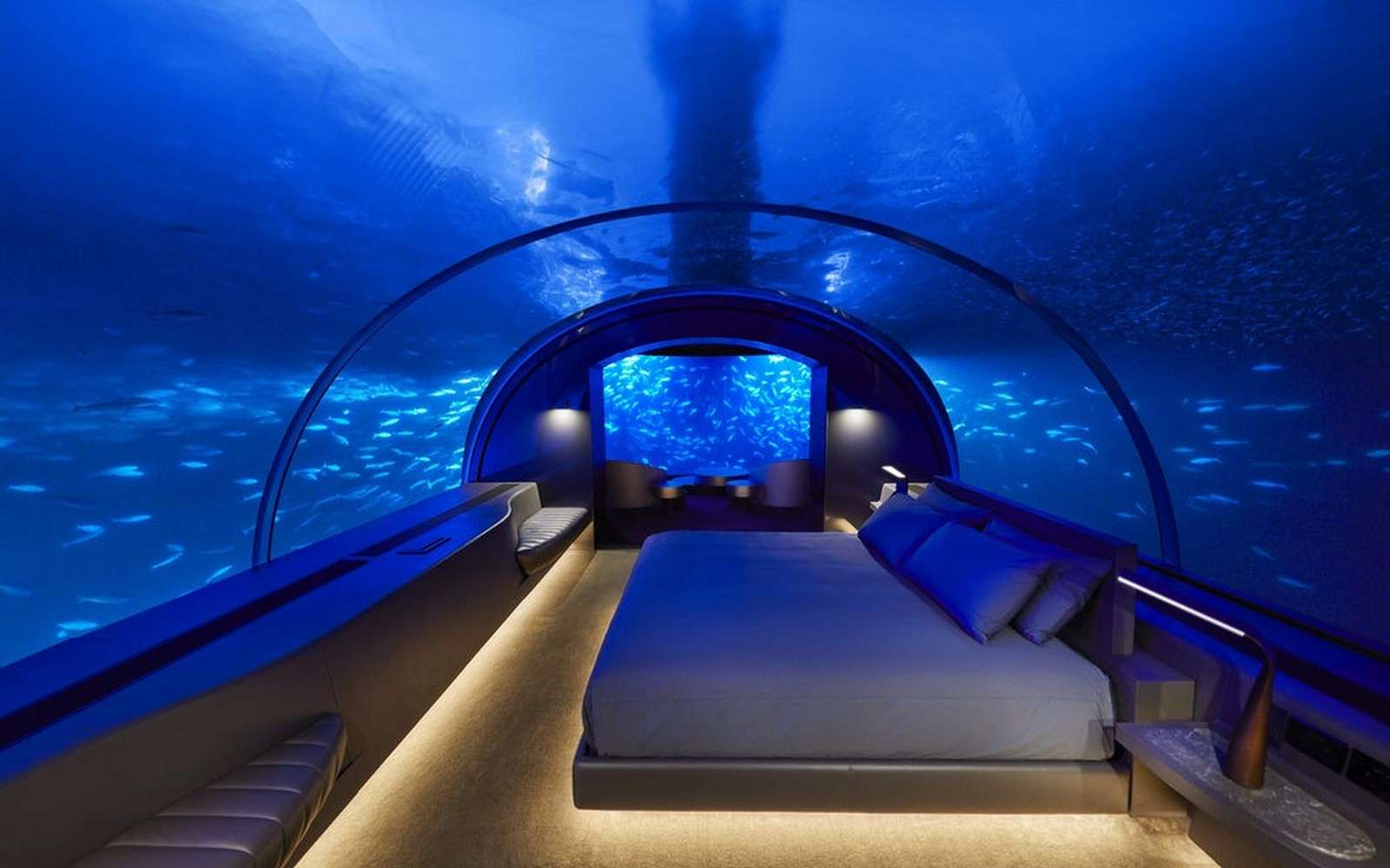 La suite sous-marine de l'hôtel Conrad Maldives Rangali Island. © Justin Nicholas