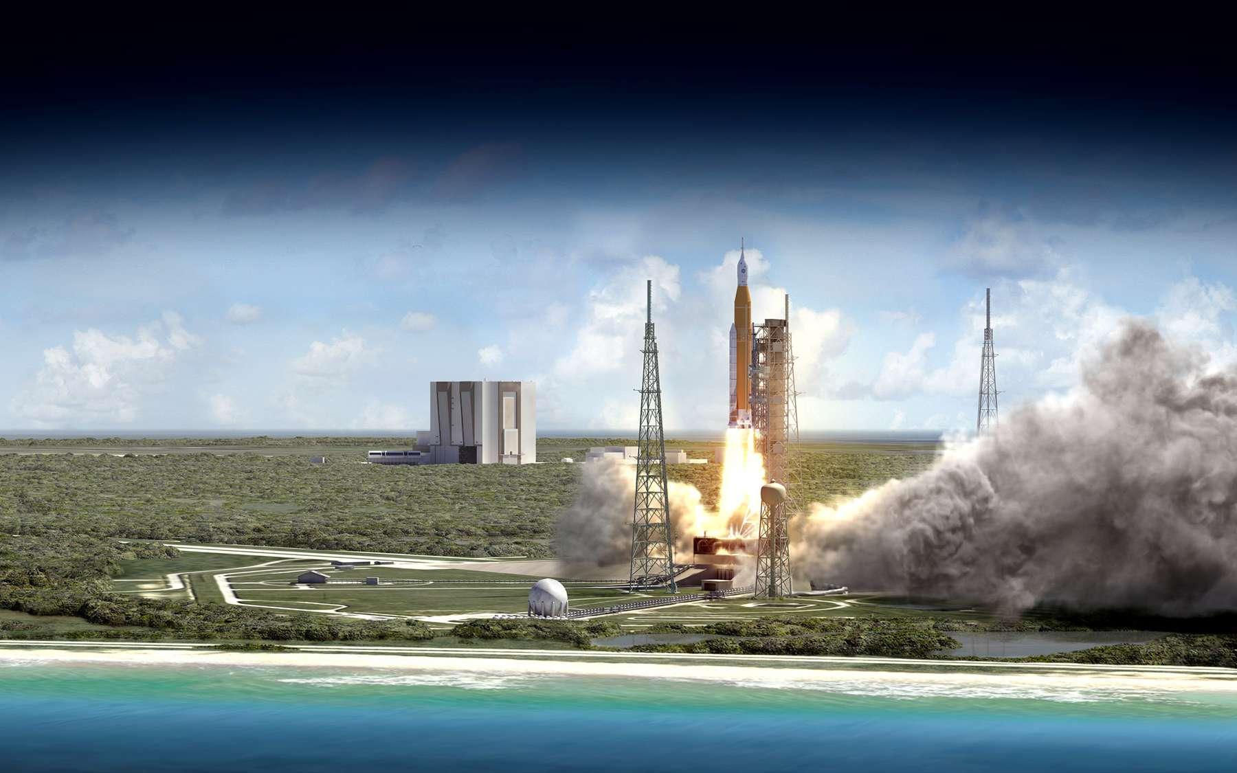 Le vaisseau spatial Orion enverra des Hommes dans l'espace en 2023. Dans sa version de base, le Space Launch System, avec ses deux étages, aura une capacité de lancement de 70 tonnes en orbite basse. Avec l'utilisation d'un troisième étage (Exploration Upper Stage), cette capacité sera portée à 105 tonnes, et à 143 tonnes avec l'utilisation de boosters plus puissants. © Nasa