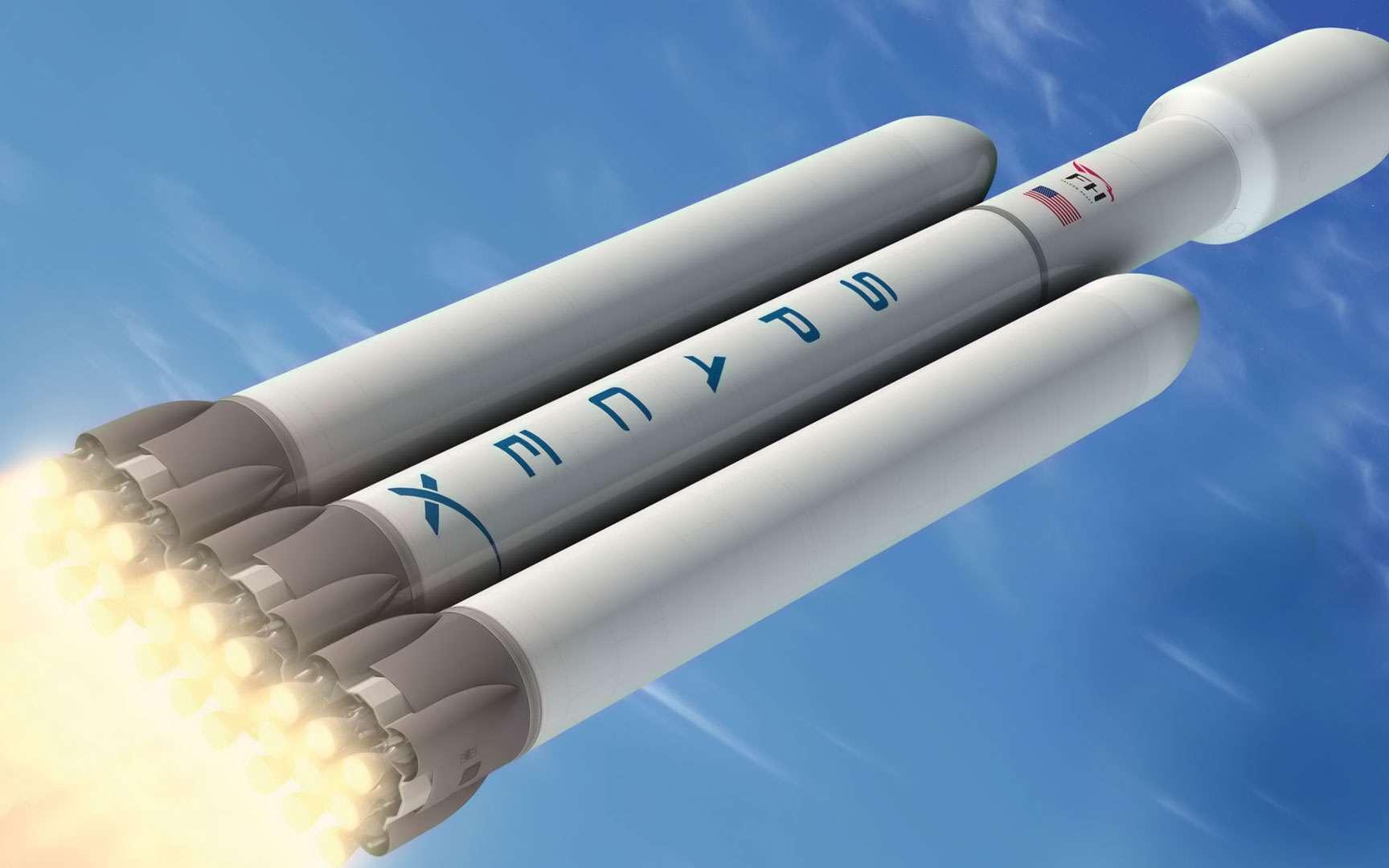 Un des quatre concepts de lanceur de nouvelle génération. Concept de lanceur bi-étage dénommé CH (propulsion méthane/oxygène liquide pour l'étage principal et propulsion cryogénique pour l'étage supérieur). Crédits Astrium / Esa