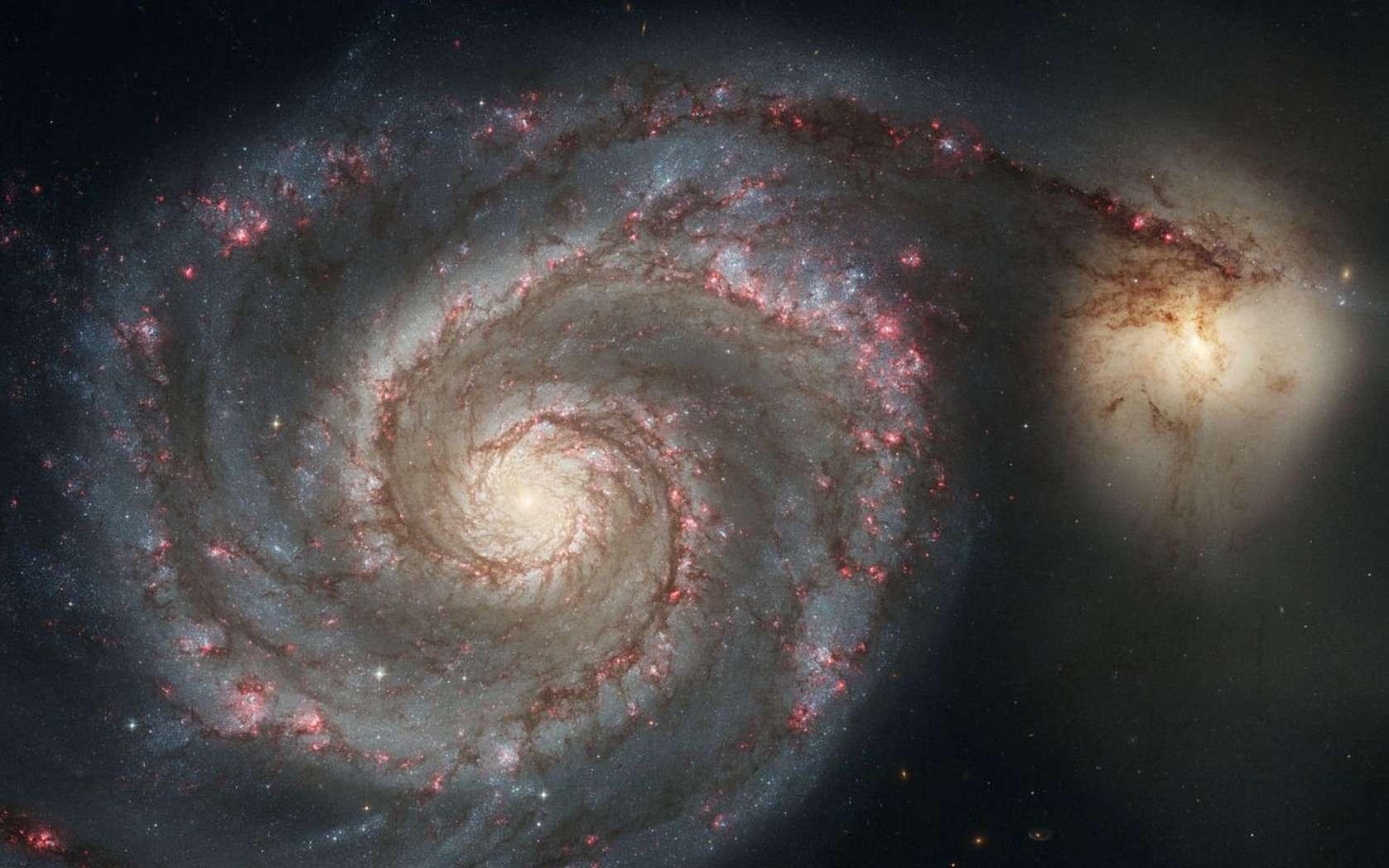 Une image provenant des observations de Hubble et montrant la galaxie spirale Messier 51. © Nasa
