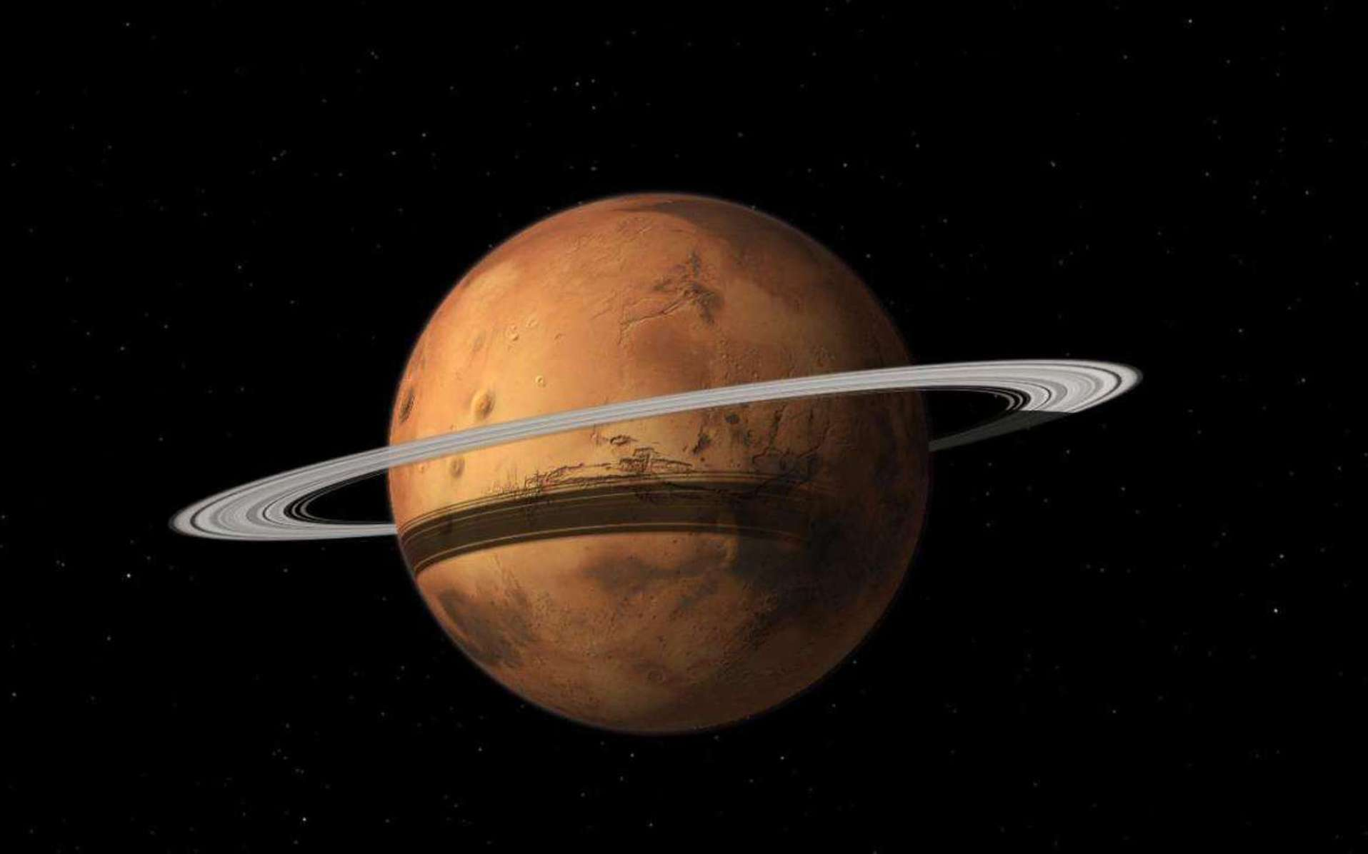 Mars pourrait s'entourer d'anneaux après avoir mis en pièces Phobos dans 20 à 40 millions d'années. © Tushar Mittal, Celestia 2001-2010, Celestia Development Team