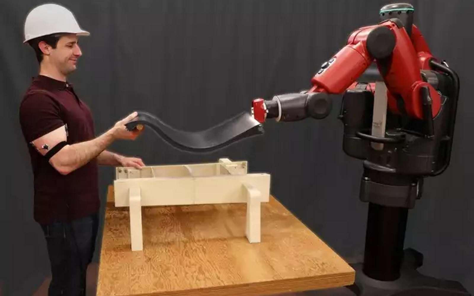 Via les signaux électriques de l'activité musculaire, des capteurs EMG permettent au robot d'évaluer les mouvements et la force à exercer pour soulever un objet avec un humain. © MIT