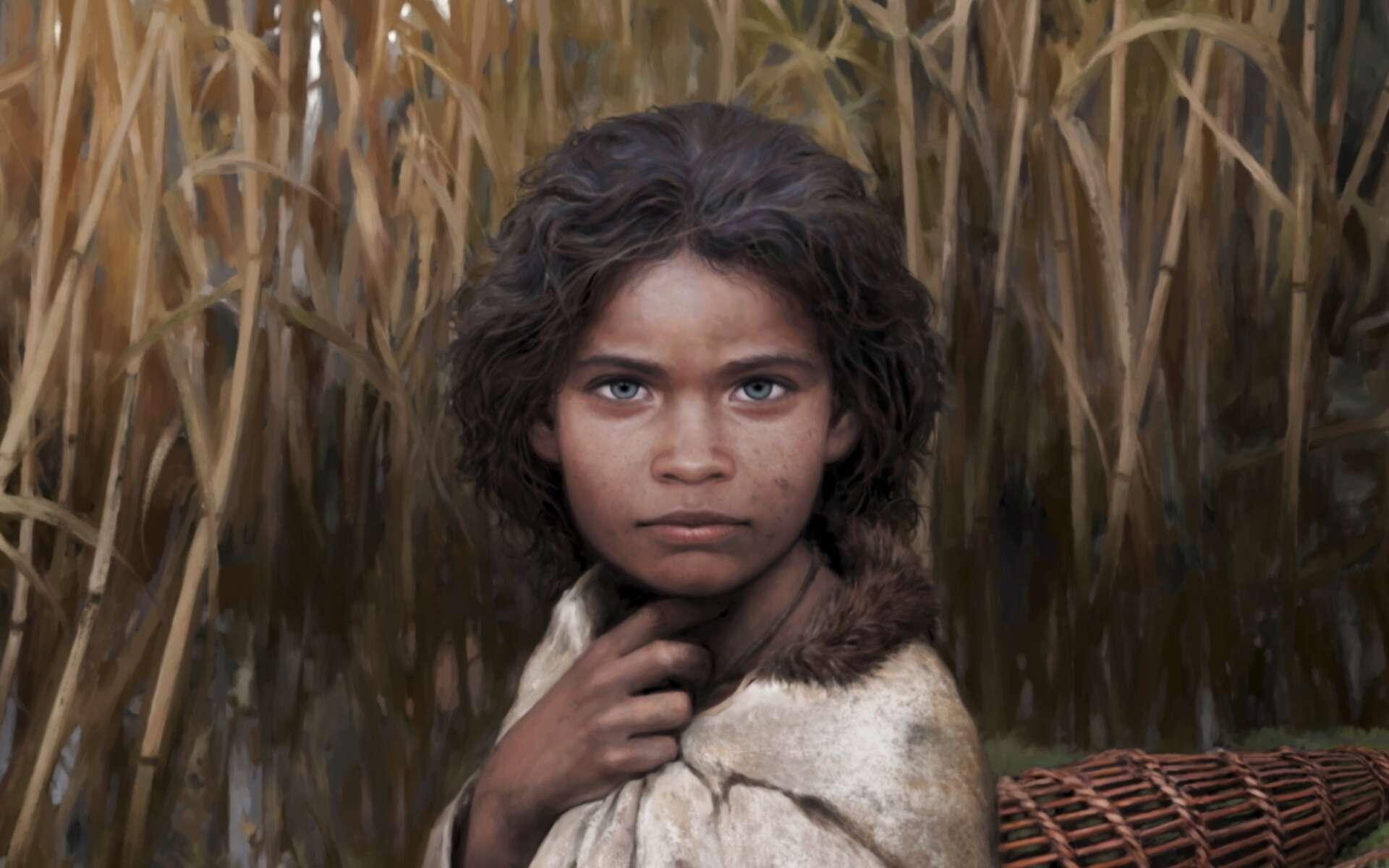 Reconstruction artistique de la jeune femme qui a mâchouillé ce chewing-gum il y a 5.700 ans. © Tom Björklund, Nature Communications