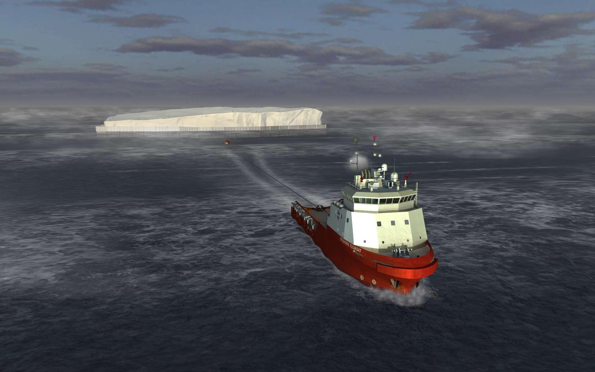 Un remorqueur tractant un iceberg, représenté par un logiciel de simulation capable de tenir compte des courants et des conditions de mer pour reproduire la marche du navire. © Dassault Systèmes