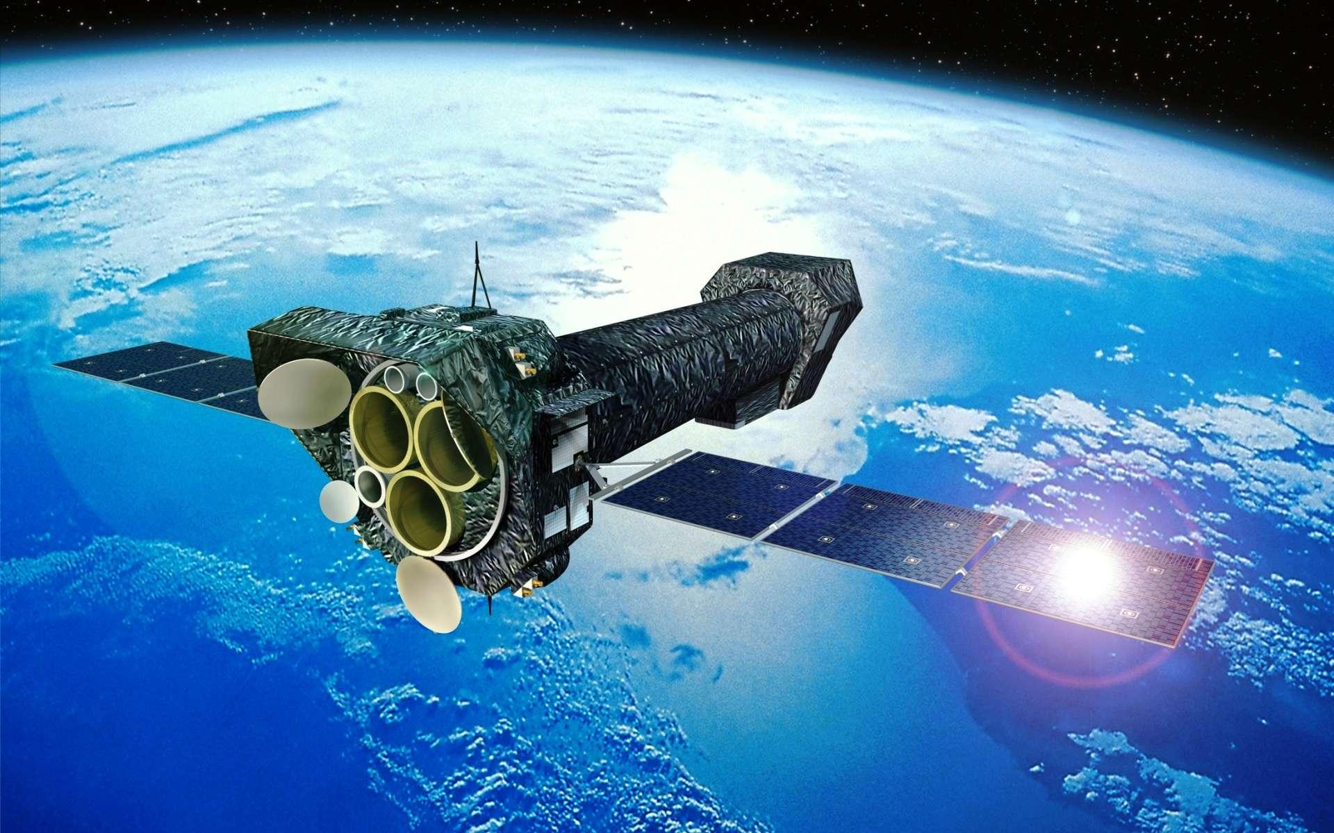 Le télescope XMM-Newton, ici en vue d'artiste, a été lancé en décembre 1999. Sa mission d'observation en rayons X se poursuit toujours, sur une orbite elliptique autour de la Terre, qui l'en éloigne jusqu'à 114.000 km. © Esa, D. Ducros