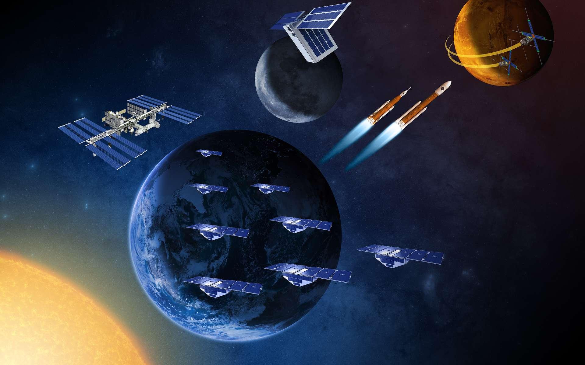La Nasa a détaillé son programme de développement de minisatellites : autour de la Terre et ensuite autour de la Lune et Mars. Peu chers, ils devraient accélérer notre expansion dans l'espace. © Nasa