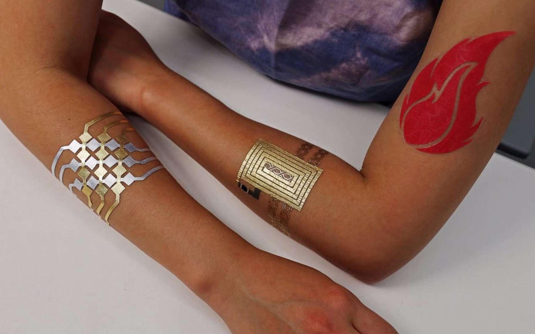 Surfant sur la mode des tatouages métalliques, Microsoft Research et le MIT ont développé un processus de fabrication simple et peu onéreux qui permet de créer des tatouages communicants. © Microsoft Media/MIT Lab