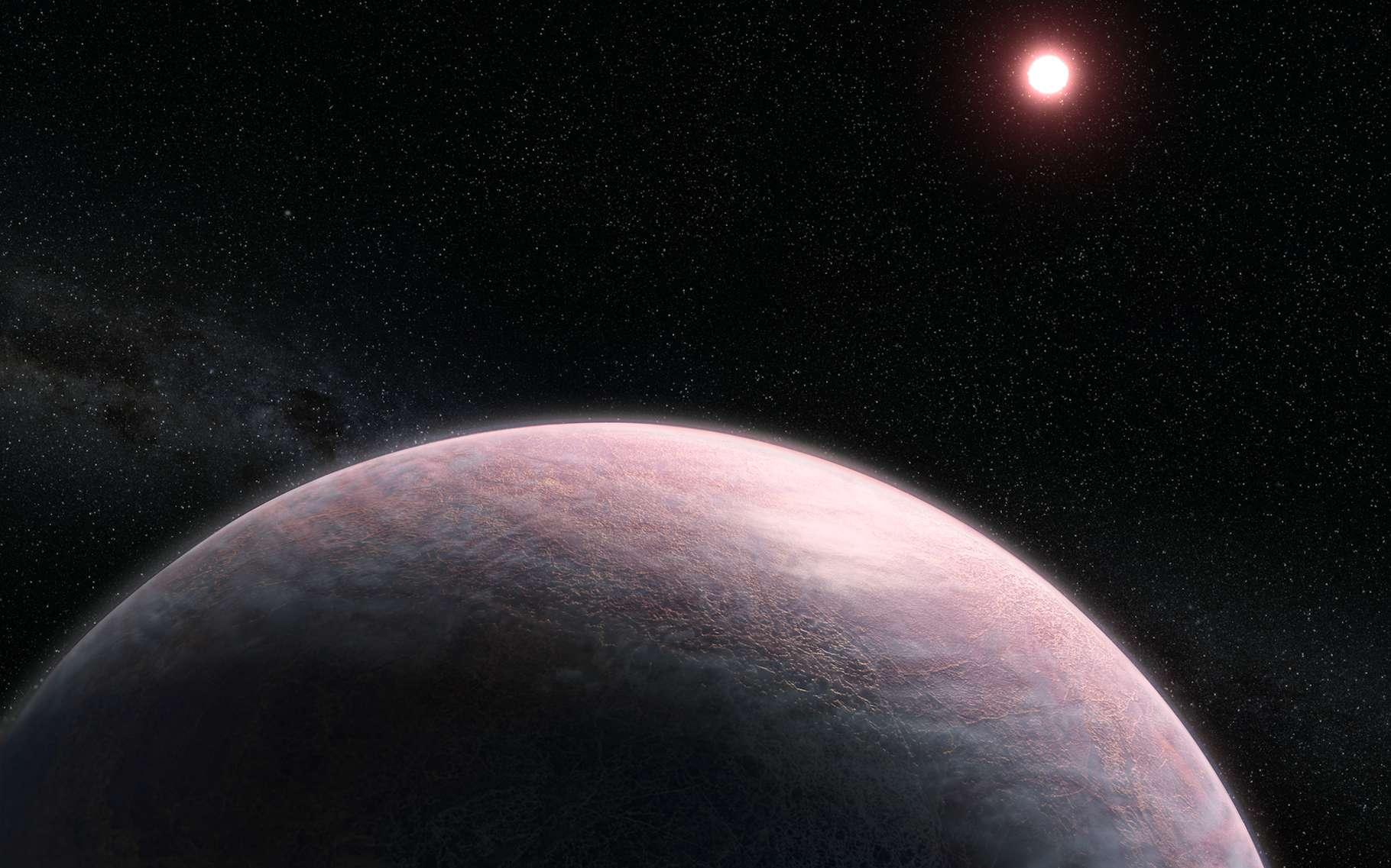 Seul problème concernant la méthode proposée aujourd'hui par les chercheurs : elle fonctionne au mieux sur des planètes trop chaudes pour être situées dans la zone habitable de leur étoile. Mais les astronomes sont convaincus que si une planète chaude peut retenir une atmosphère, une autre, un peu moins chaude, le pourra tout aussi bien. Ici, une vue d'artiste d'une exoplanète rocheuse et de son atmosphère nuageuse. Au loin, son étoile, une naine rouge. © L. Hustak and J. Olmsted, Nasa