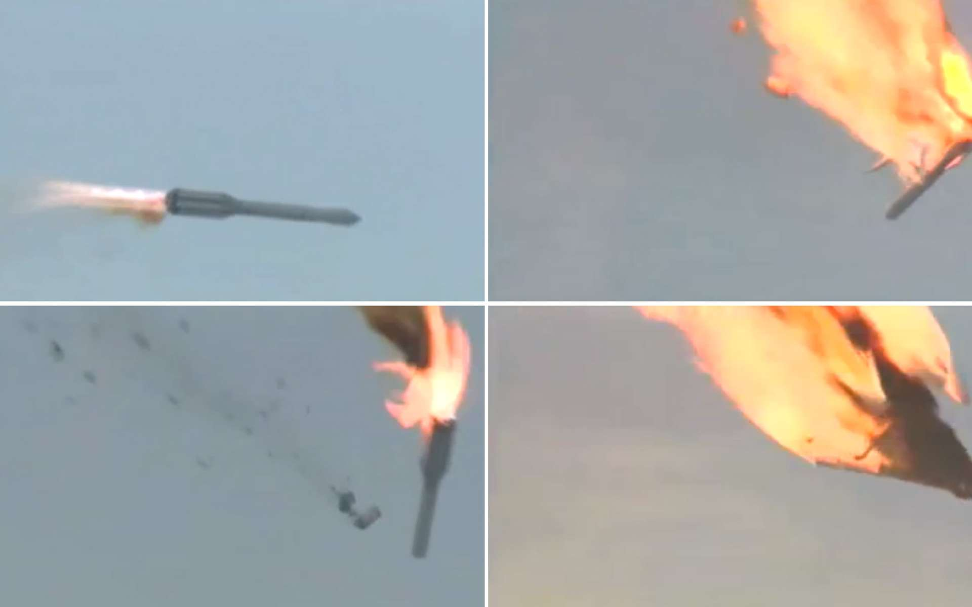 Le 2 juillet 2013, le lanceur Proton-M a quitté sa trajectoire et la partie supérieure s'est embrasée, entraînant la perte de trois satellites Glonass. Les causes de l'accident ne sont pas encore connues. © Roscosmos, YouTube