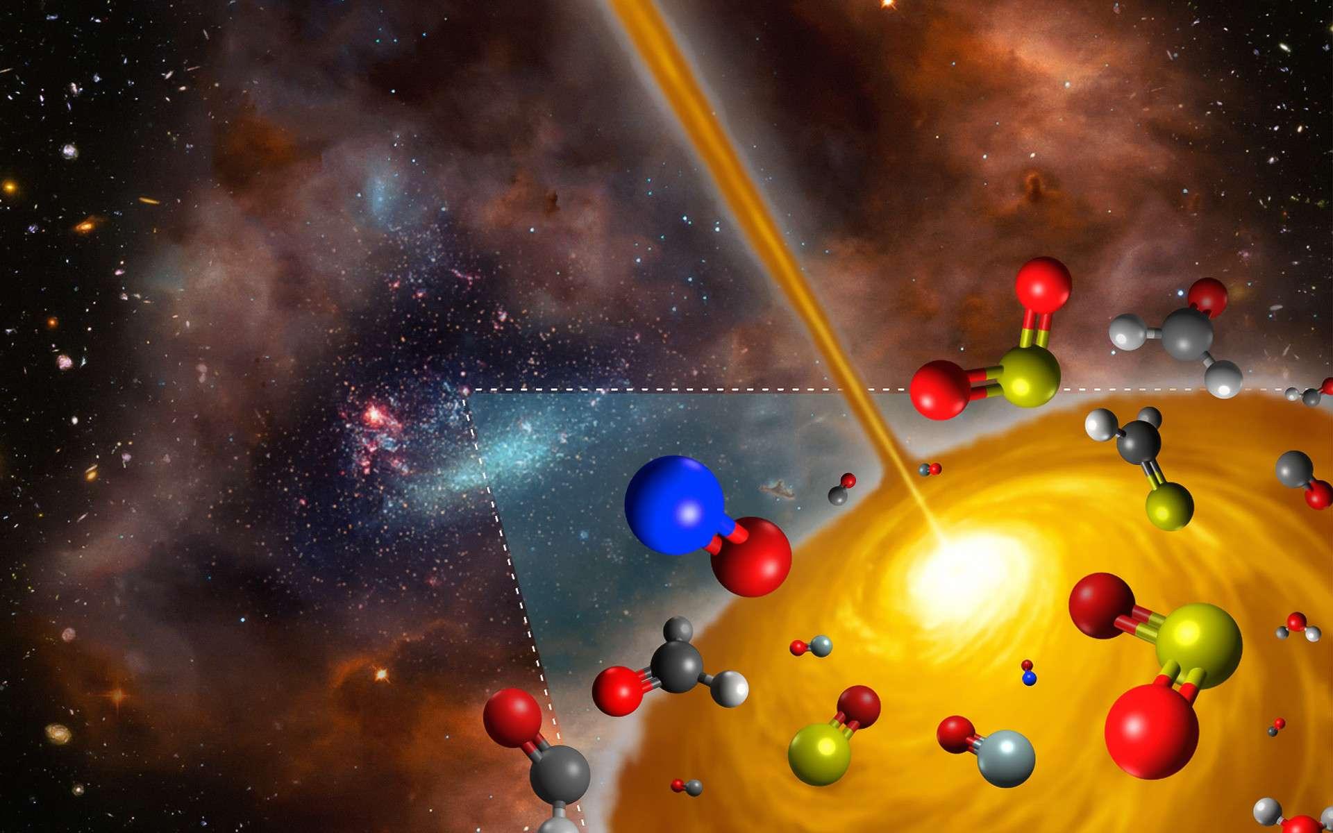 Sur cette vue d'artiste figurent les molécules détectées par Alma au sein d'un noyau moléculaire chaud du Grand Nuage de Magellan. Ce noyau est le tout premier objet de ce type découvert à l'extérieur de la Voie Lactée. Sa composition chimique diffère notablement de celle qui caractérise les semblables objets découverts dans notre galaxie. Cette image a été constituée à partir des sources suivantes : ESO/M. Kornmesser ; Nasa, ESA, S. Beckwith (STScI) et l'équipe de l'HUDF ; Nasa/ESA et l'équipe en charge des archives d'Hubble (AURA/STScI)/HEI. © ESO, FRIS, Tohoku University