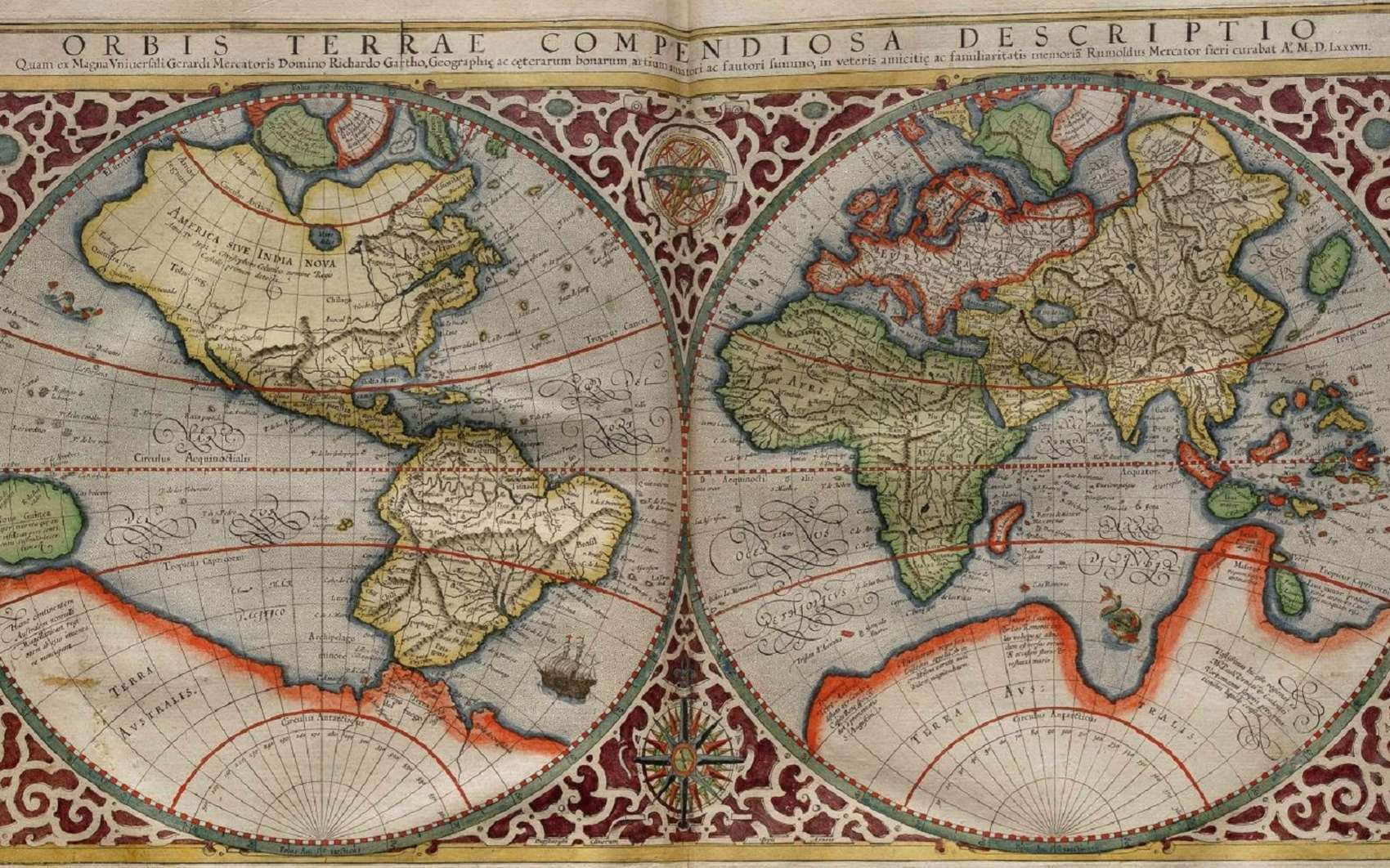 Planisphère de Mercator daté de 1587 © Wikimedia commons, domaine public.