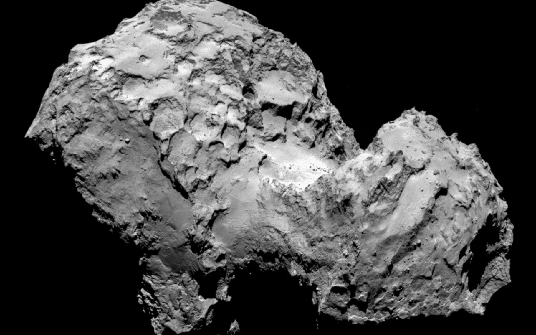 Très sombre, le noyau cométaire 67P//Churyumov-Gerasimenko est riche en matière organique, c'est-à-dire en composés du carbone. La sonde Rosetta, qui tourne autour depuis août 2014 (époque de cette image), et l'atterrisseur Philae, ont détecté de nombreuses molécules organiques. La dernière est un acide aminé, accompagné de phosphore. © Esa, Rosetta, MPS for Osisirs Team MPS, UPD, LAM, IAA, SSO, INTA, UPM, DASP, IDA