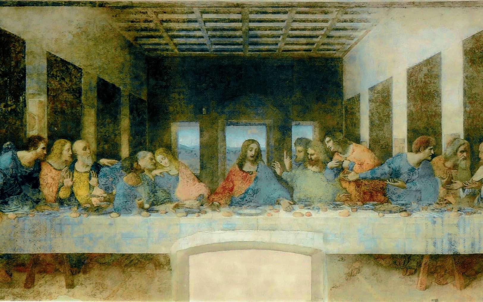 La Cène, célèbre fresque de de Léonard de Vinci (1495-1498). © Léonard de Vinci, Wikimedia Commons, Domaine public