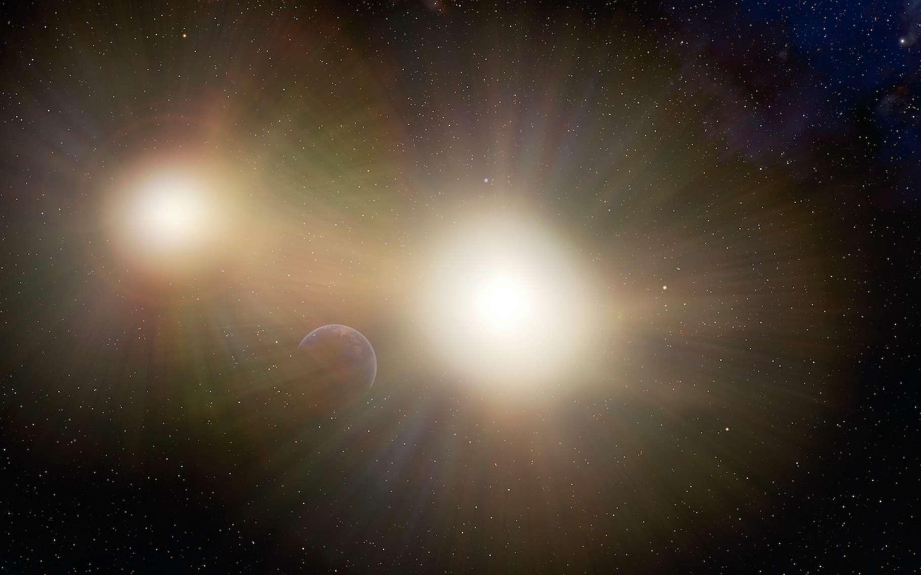 Des astronomes de la Nasa suggèrent que de nombreuses planètes semblables à notre Terre pourraient échapper à notre détection, car hébergées par un système d'étoiles doubles. La luminosité de la seconde étoile rendant plus difficile l'application de la méthode des transits. © International Gemini Observatory/NOIRLab/NSF/AURA/J. da Silva