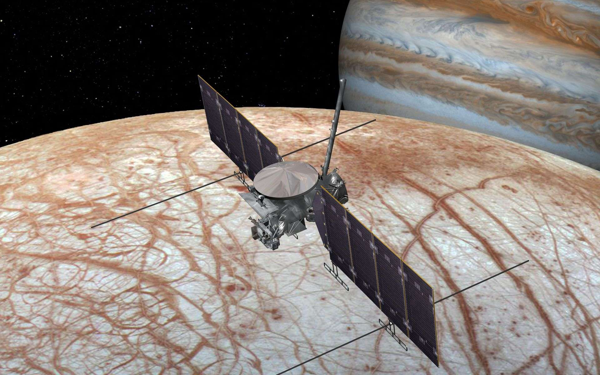 Illustration de la sonde Europa Clipper de la Nasa. Son lancement est prévu dans le courant de la décennie 2020. © Nasa
