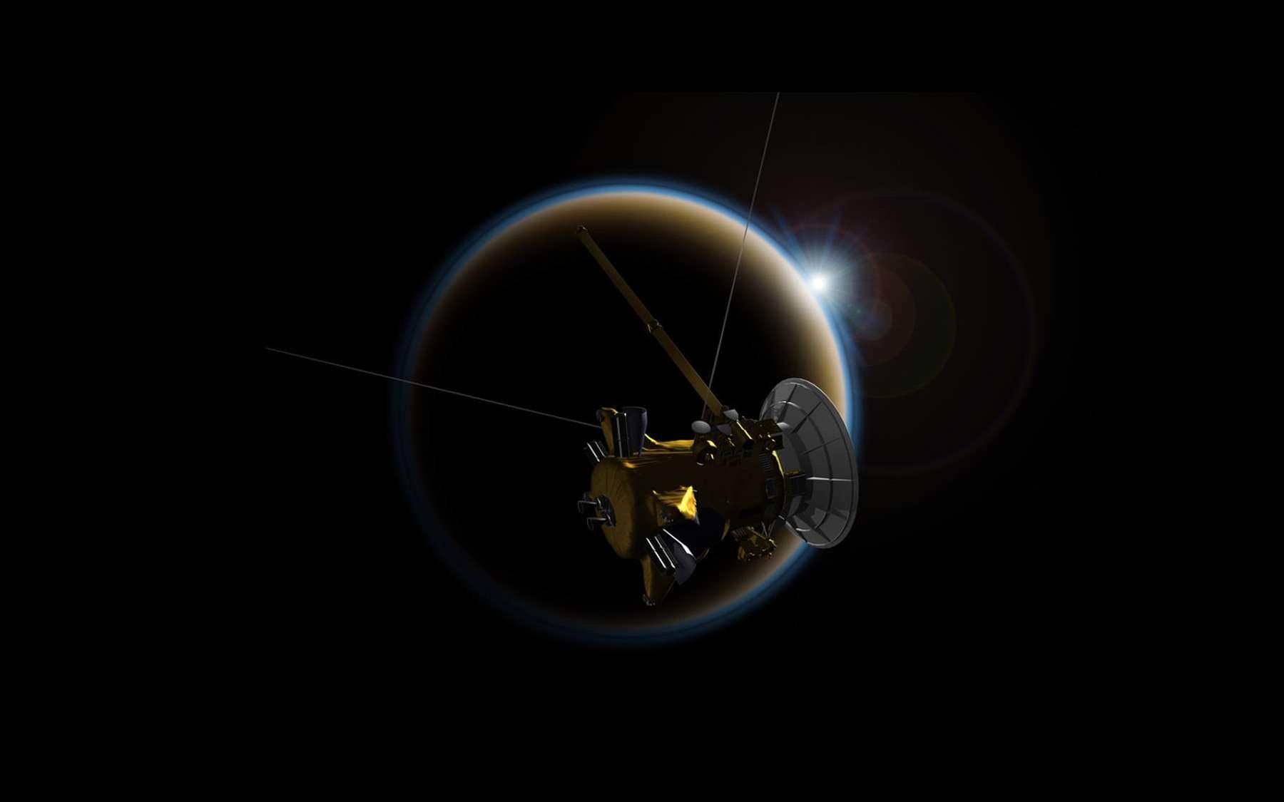 Illustration de la sonde Cassini devant Titan, la plus grande lune de Saturne. © Nasa, JPL-Caltech