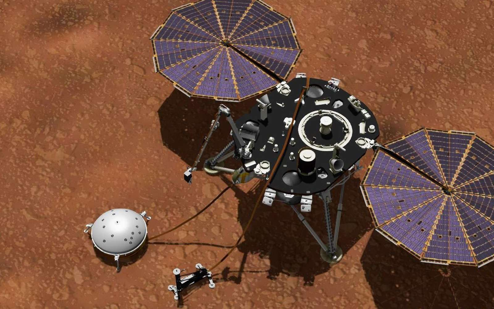 La Nasa collecte des données météo sur Mars avec InSight. © Nasa, JPL-Caltech