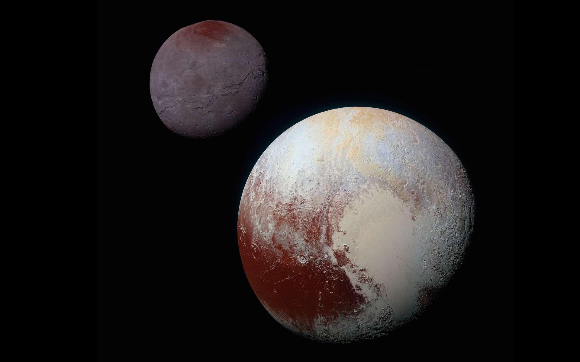 Sur cette image composite de New Horizons, on peut apprécier les différentes caractéristiques physiques des deux grands corps de ce système binaire : Pluton (en bas) et Charon (en haut). La planète naine arbore des reliefs — notamment dans ce grand Cœur et ses alentours — témoignant d'une dynamique insoupçonnée jusqu'à la visite de la sonde, le 14 juillet 2015. © Nasa, SwRI, JHUAPL