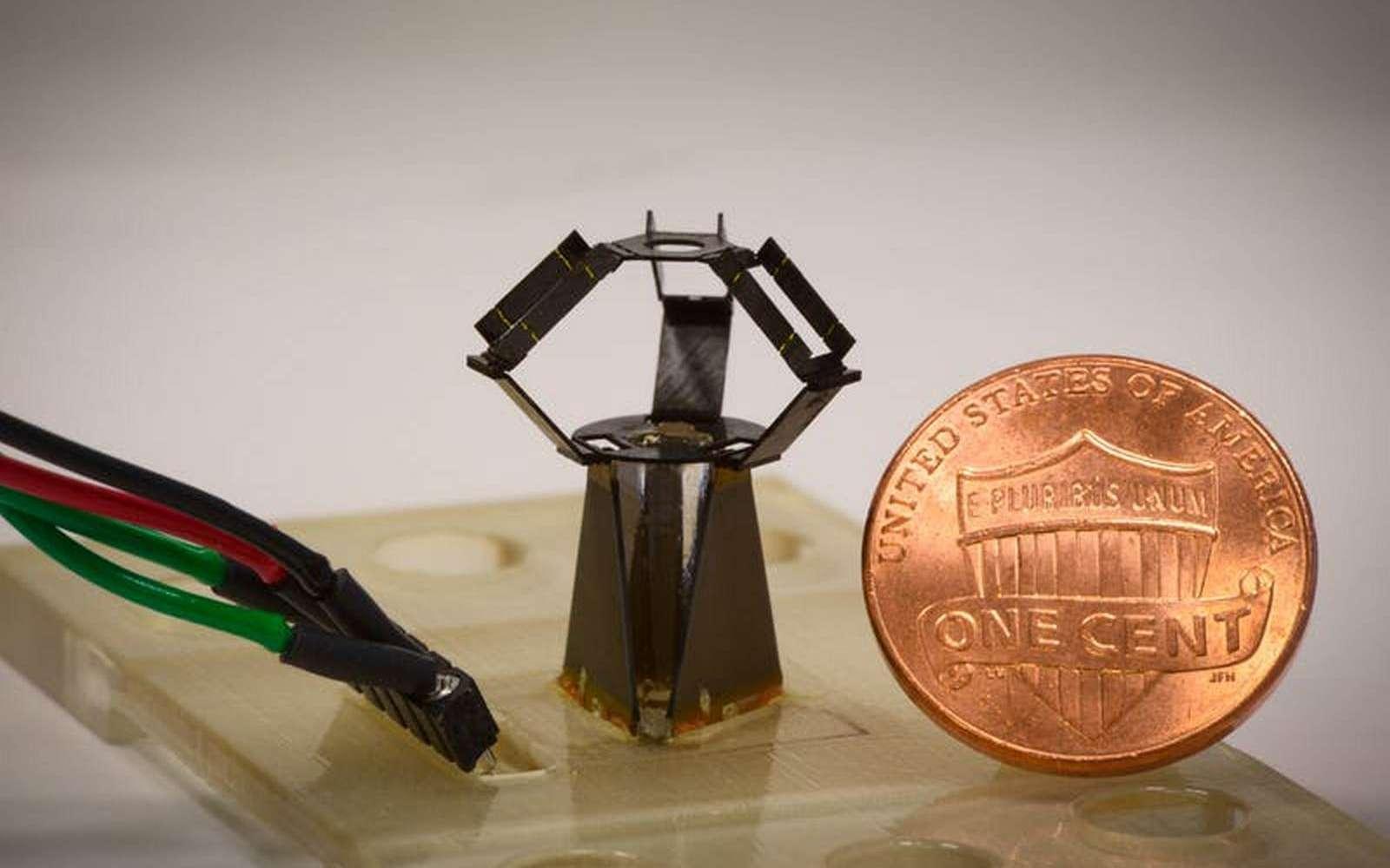 Le robot MilliDelta est fabriqué à partir d'une technique inspirée de l'origami japonais. © Wyss Institute