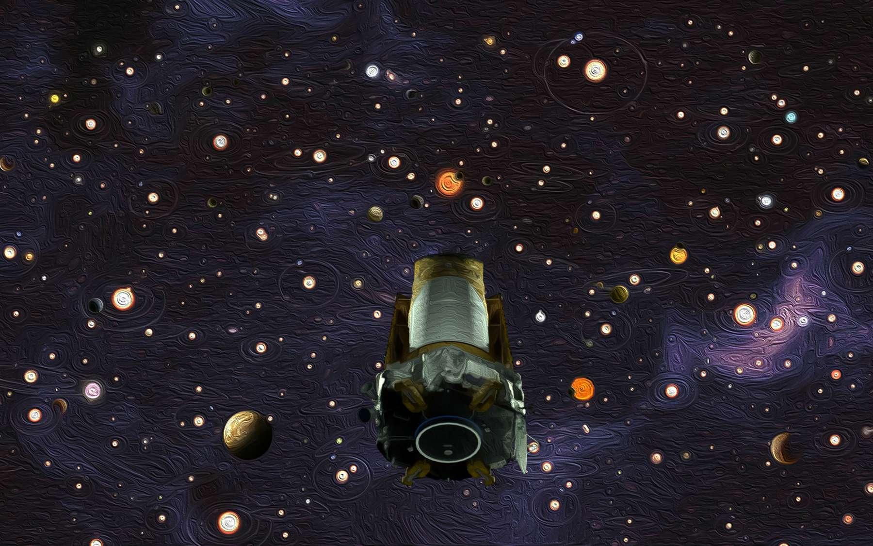 Les grandes découvertes de Kepler. Illustration représentant le télescope spatial devant les milliers de planètes qu'il a débusquées. © Nasa, Wendy Stenzel, Daniel Rutter