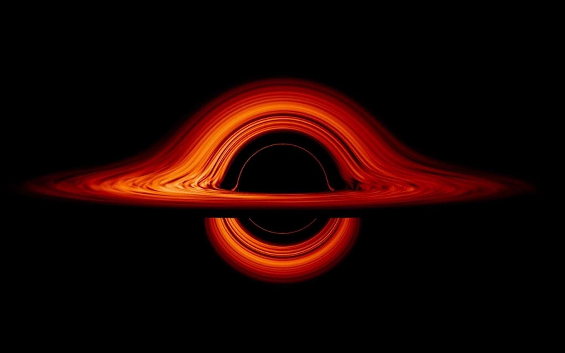 Une simulation de la Nasa montre comment un trou noir peut déformer l'espace-temps dans ses environs. © Jeremy Schnittman, Nasa's Goddard Space Flight Center