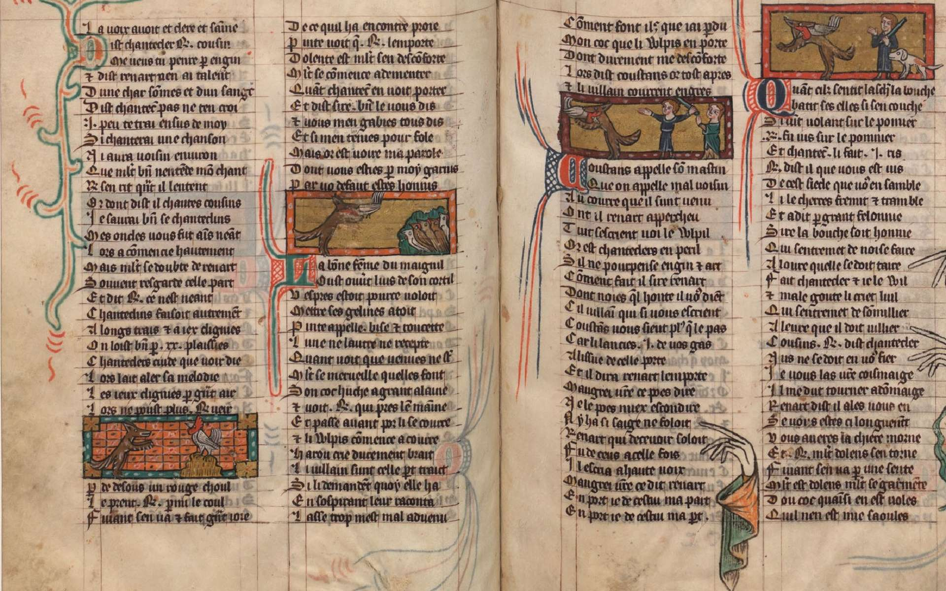 Extrait du manuscrit ''le Roman de Renart'', épisode de Renart et le coq Chantecler ; manuscrit français cote 12584, bibliothèque nationale de France. © Bibliothèque nationale de France.