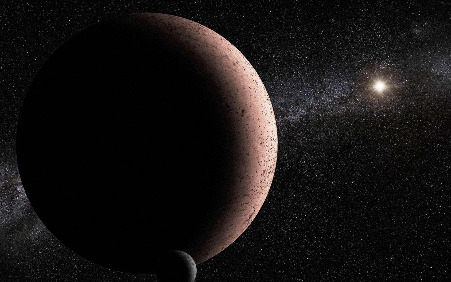 Une vue d'artiste d'une planète naine accompagnée d'un satellite. Parmi celles déjà repérées, plusieurs ont un tel compagnon, comme Éris et Makémaké. Peut-être en est-il de même pour 2015 RR245. © Nasa, Esa et A. Parker (Southwest Research Institute)