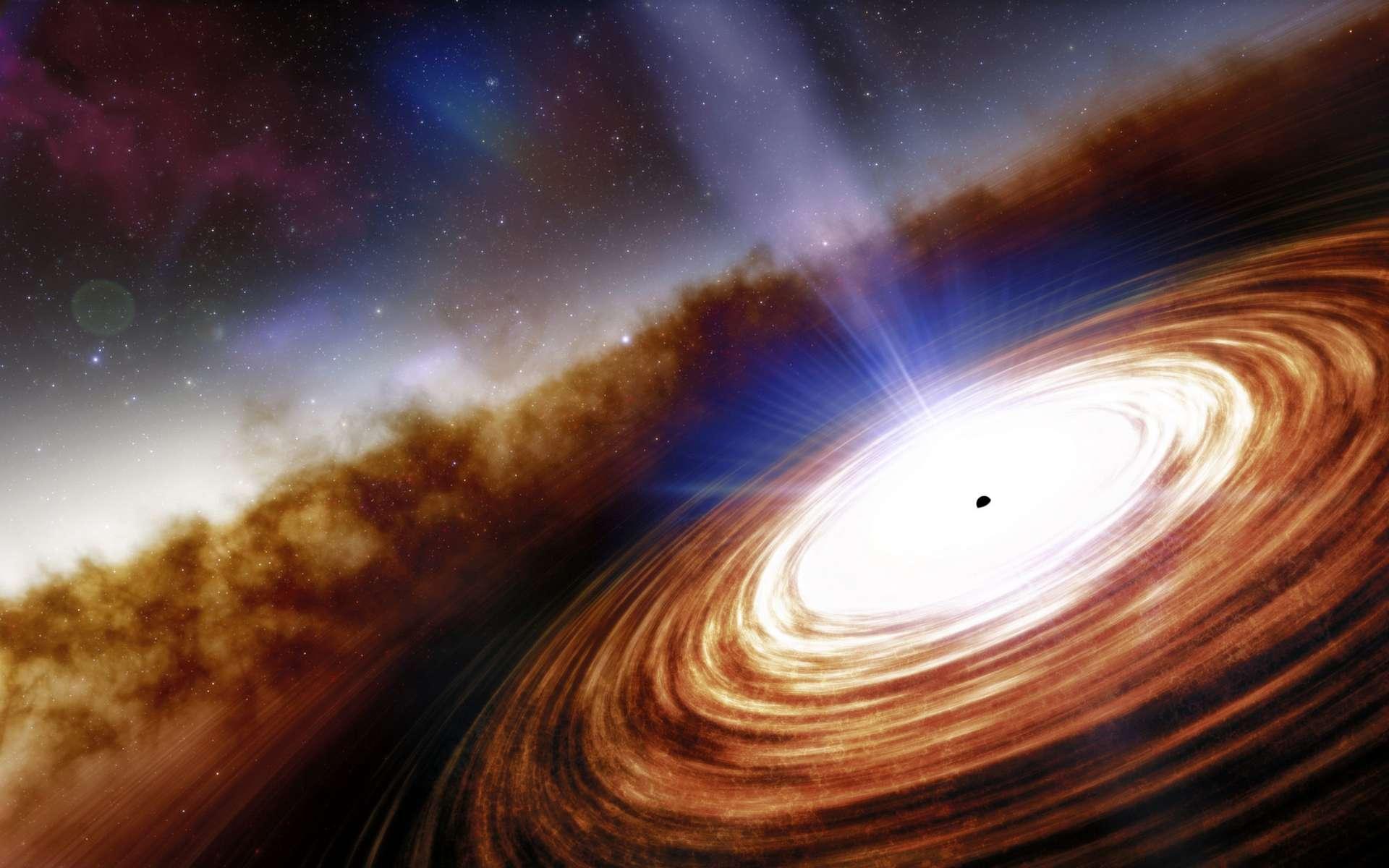 Image d'artiste du quasar J0313–1806, vu comme il n'était que 670 millions d'années après le Big Bang. © NOIRLab, NSF, AURA, J. da Silva