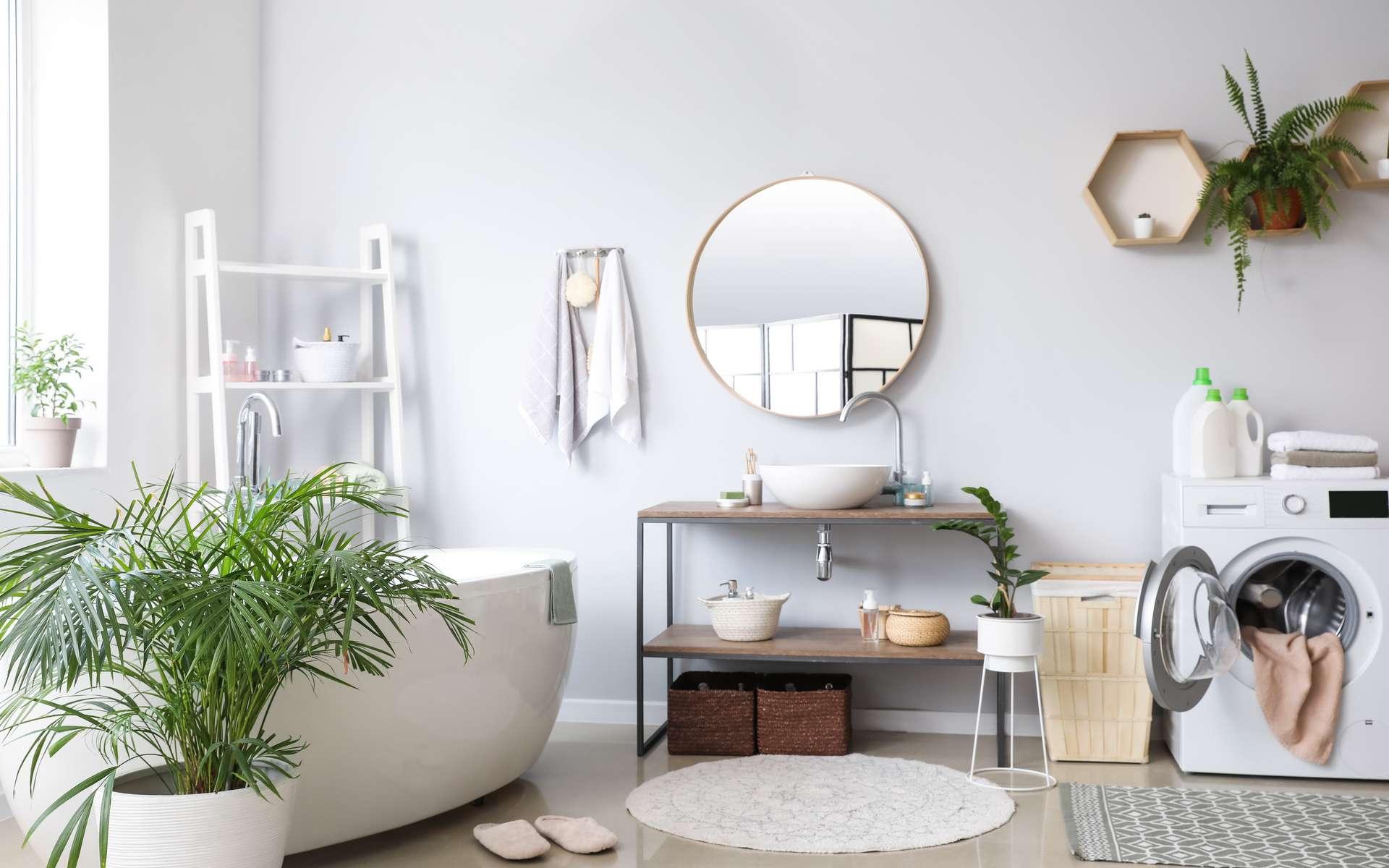 Pièce humide par excellence, la salle de bains met à mal peintures et enduits. La composition de l'enduit Magic' pièces humides de Toupret répond à cette problématique. ©Pixel-Shot