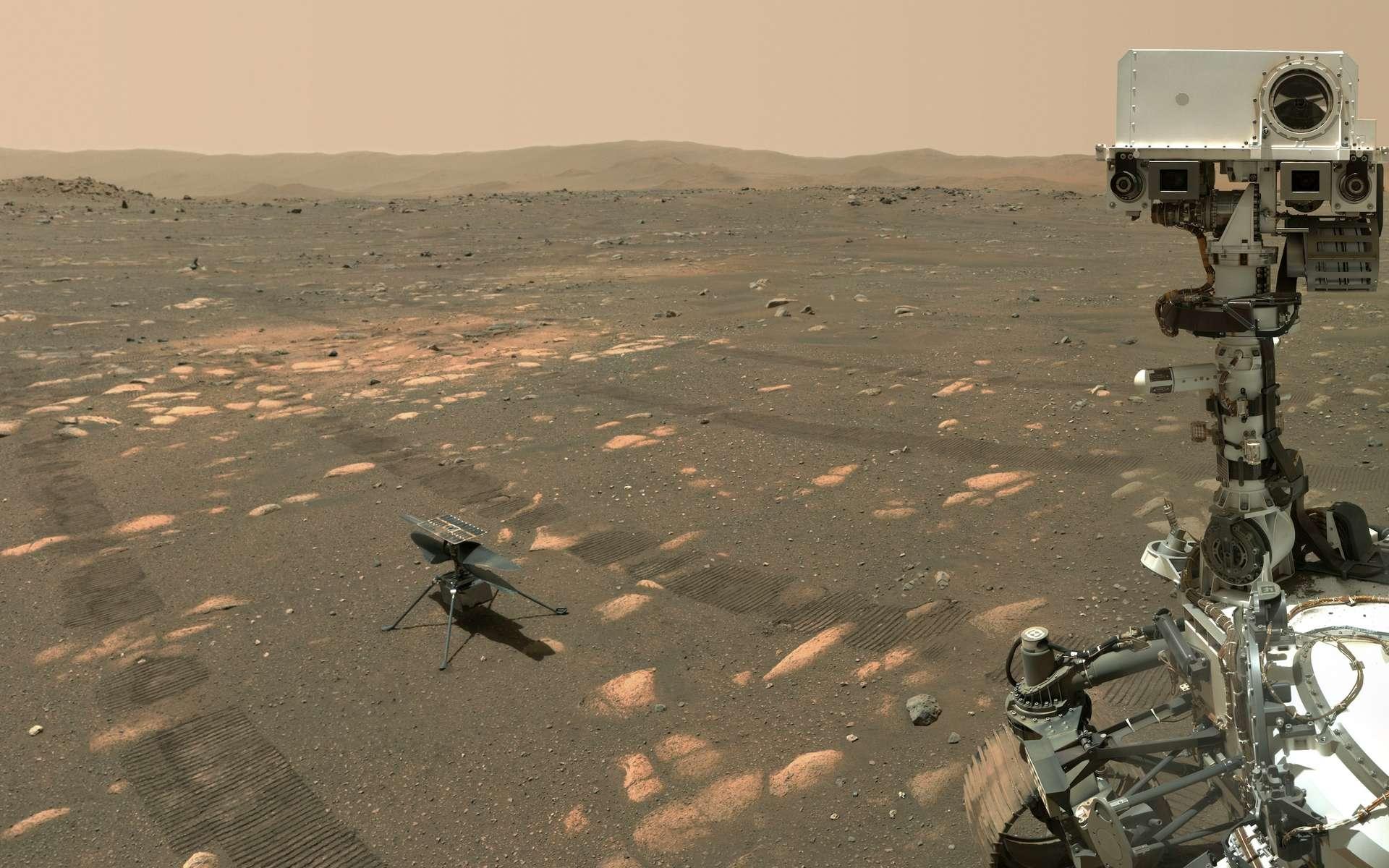 Perseverance pose à 3,9 mètres d'Ingenuity. © Nasa, JPL-Caltech, MSSS