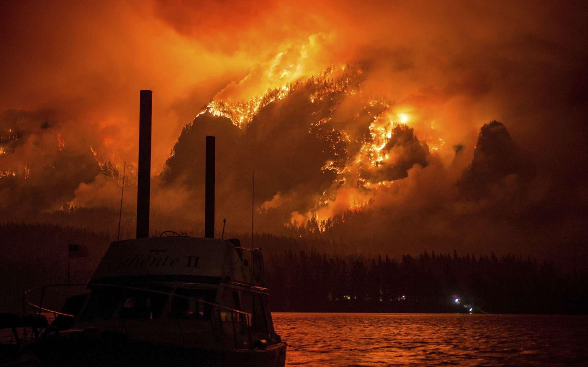 L'incendie d'Eagle Creek ayant dévasté les alentours de la ville de Stevenson (Oregon), en 2017. © Tristan Fortsch, AP