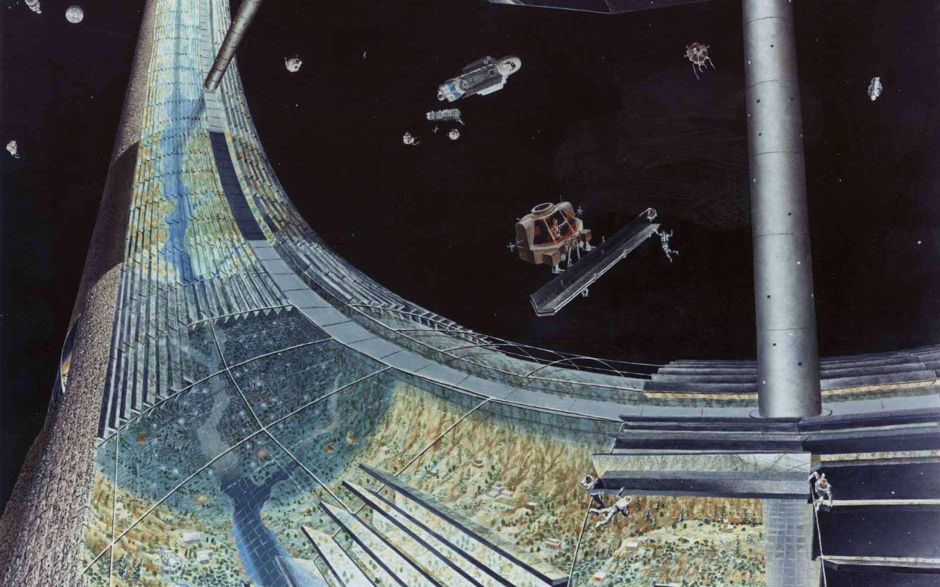 Un exemple des projets de colonie spatiale (ici le concept de planète creuse de Gerard O'Neill) étudiés au début des années 1970 pour permettre à l'humanité de repartir sur de nouvelles bases, débarrassées des archaïsmes du passé et préparer la colonisation des étoiles. Crédit : NASA Ames Research Center