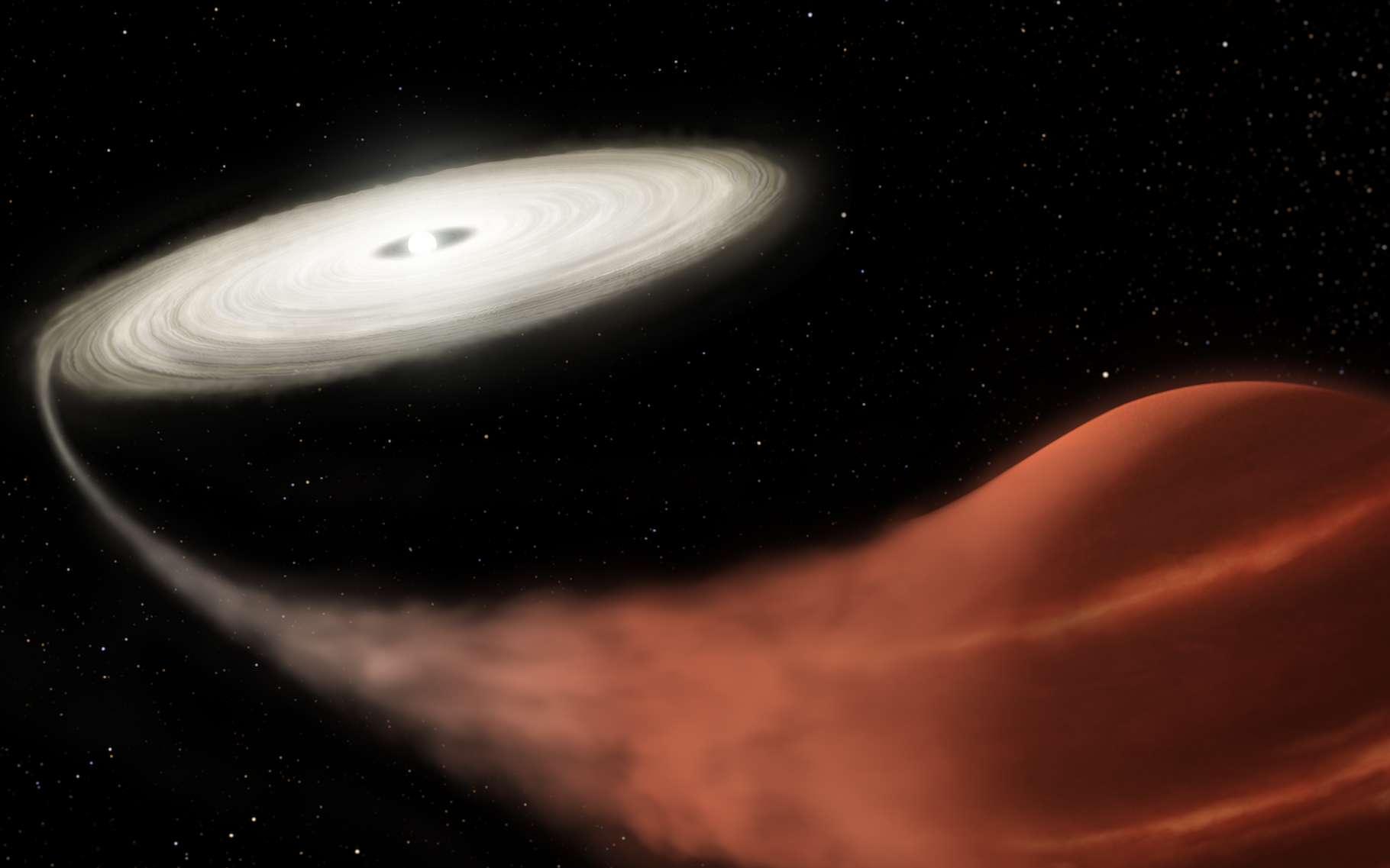 Cette illustration montre une nova naine nouvellement découverte, dans lequel une étoile naine blanche aspire de la matière de sa compagne naine brune. Tel un vampire. Le matériau s'accumule dans un disque d'accrétion jusqu'à la survenue d'une super-explosion observée par des chercheurs de la Nasa (États-Unis). © L. Hustak, STScl, Nasa
