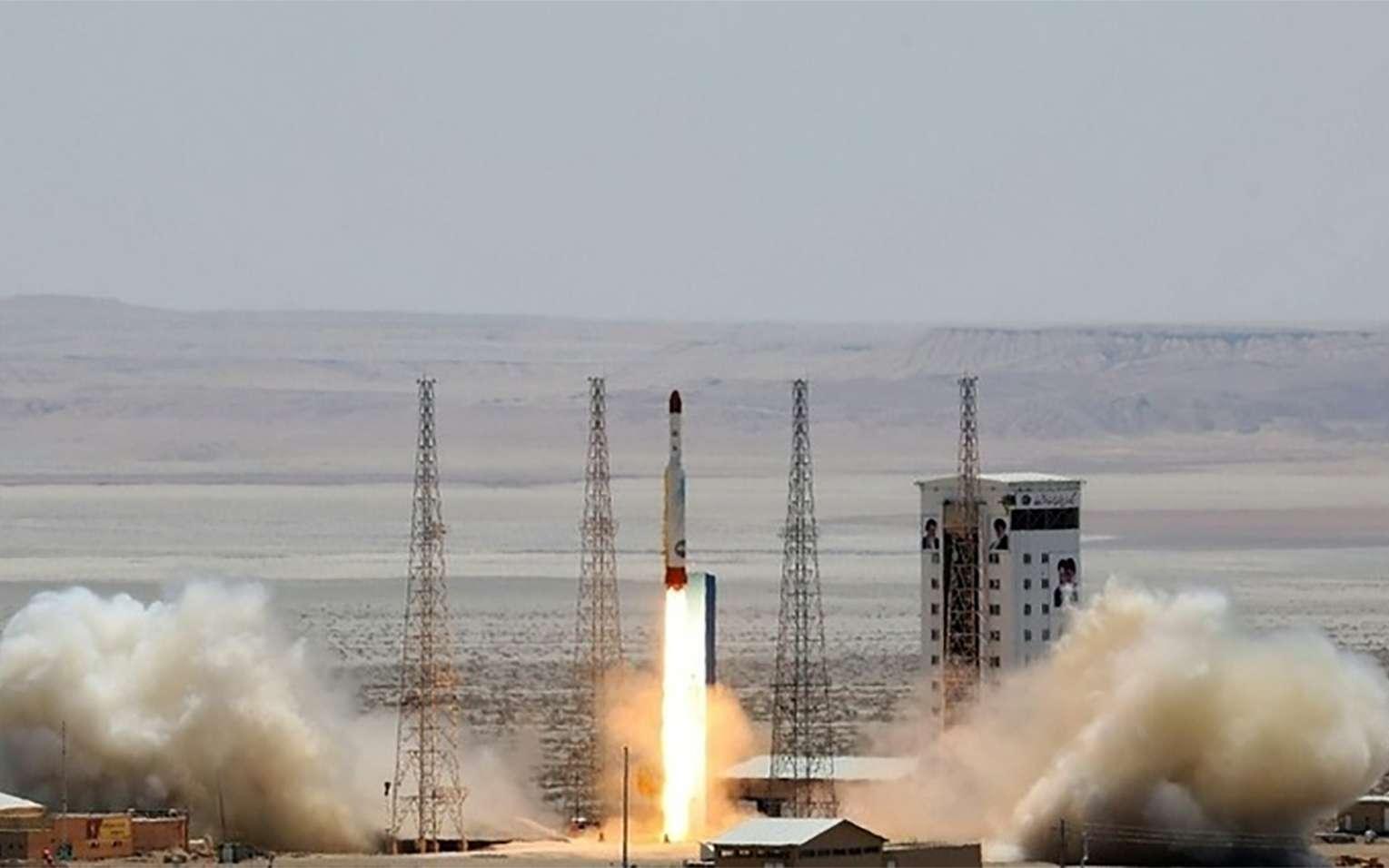 Lancement d'une fusée Simorgh dans un lieu non précisé, le 27 juillet 2017 en Iran. © HO, Ministère iranien de la Défense/AFP/Archives