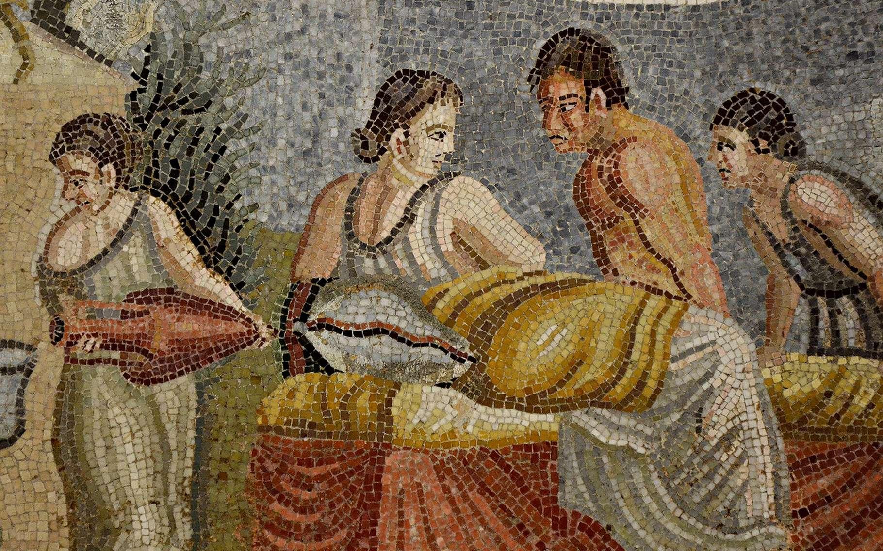 Mosaïque représentant une scène intime entre une jeune femme et un homme au torse nu, 2e siècle après J.-C. © Carole Raddato, Wikimedia Commons, CC by-sa 2.0