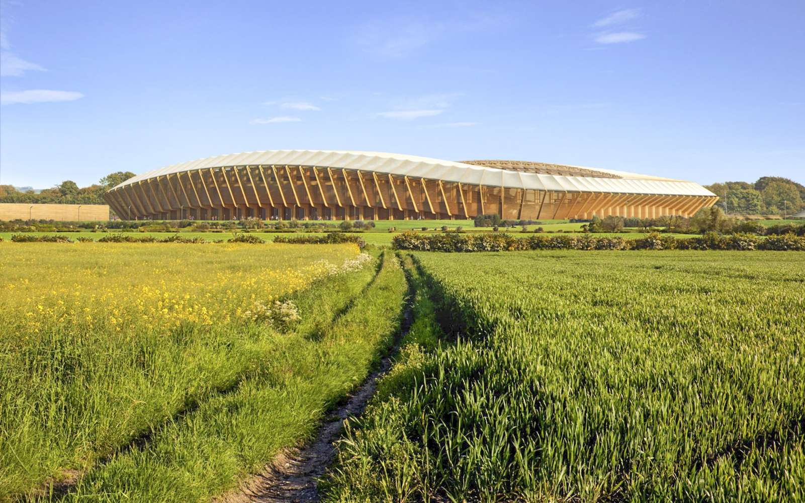 Le futur Eco Park Stadium, stade de football, entièrement fait de bois, signé par le bureau Zaha Hadid Architects. © Courtesy of Zaha Hadid Architects, Negativ
