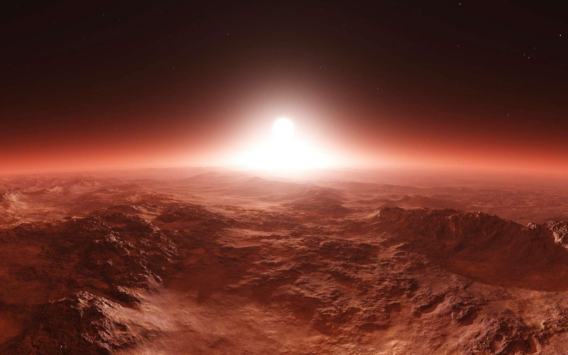 Illustration. Lever de Soleil au-dessus de Mars. © ustas, Adobe Stock