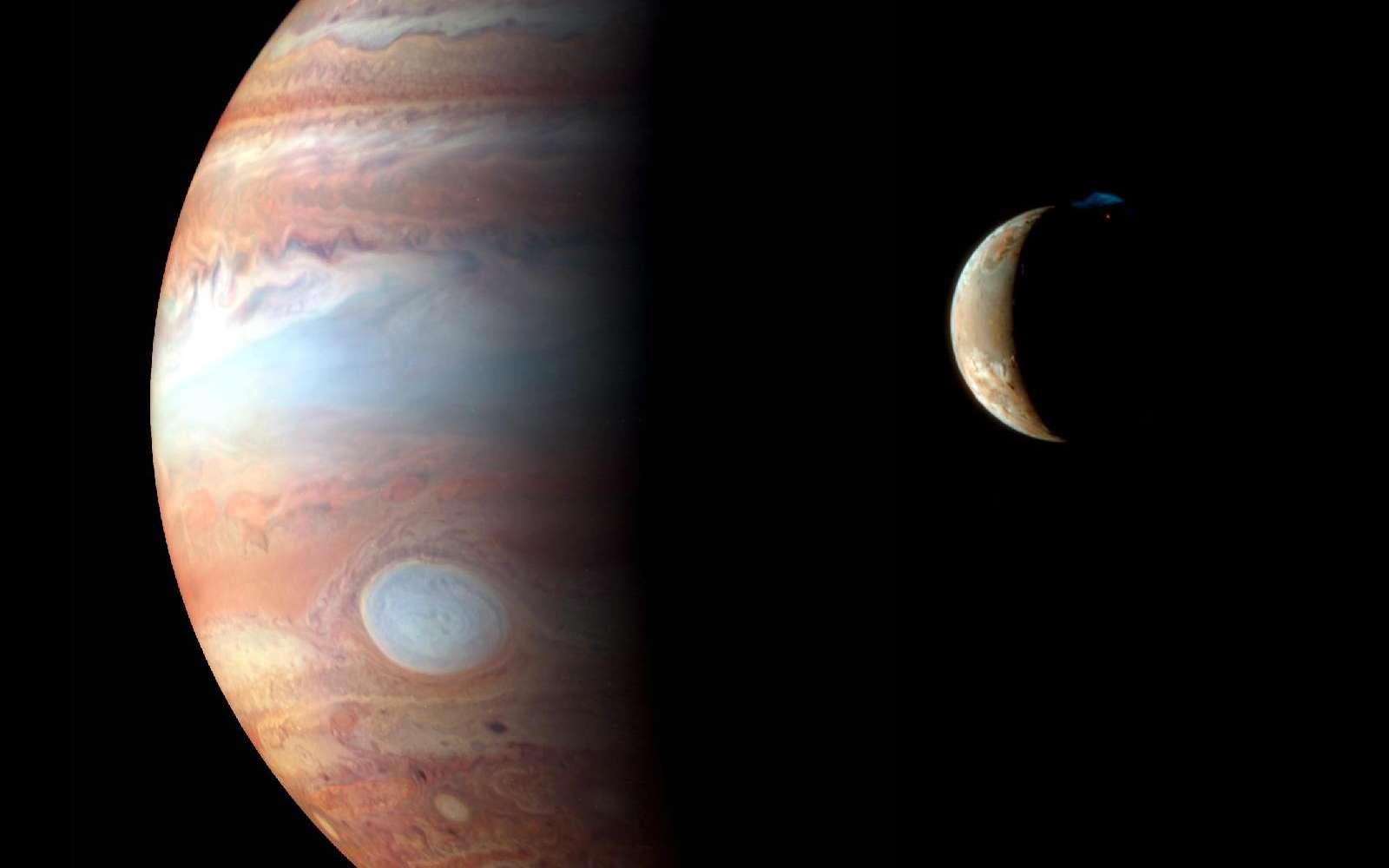 Croissant de Io saisi le 21 octobre 2010 à l'aide d'un télescope de 23 centimètres de diamètre et d'une caméra CCD. © R. Morini