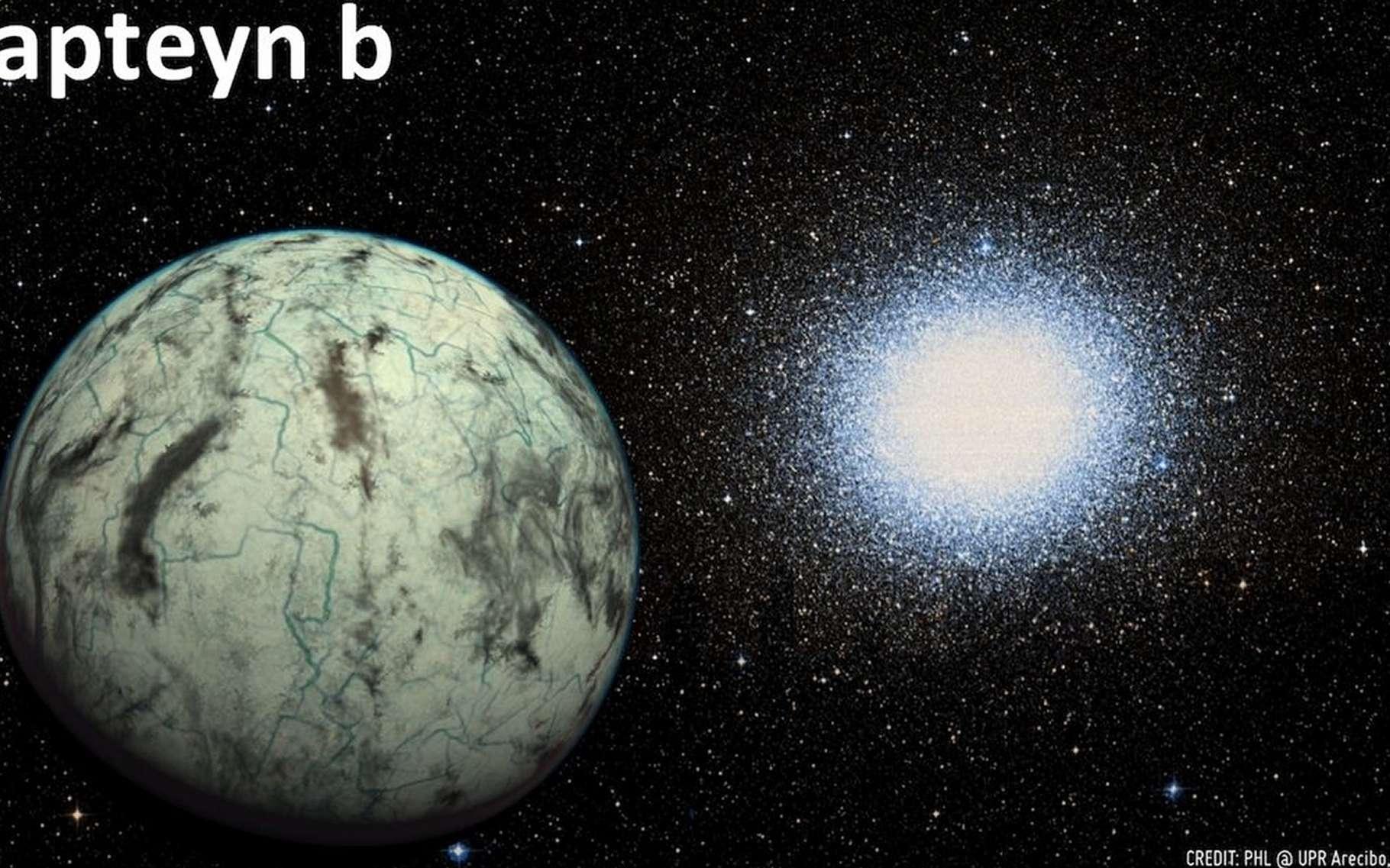 Potentiellement habitable et considérée comme la plus ancienne planète connue, la superterre Kapteyn b (ici dans un dessin d'artiste) est en orbite autour de la naine rouge Kapteyn. L'étoile Omega du Centaure occupe l'arrière-plan. Les instruments de la nouvelle génération permettront d'étudier les atmosphères de telles exoplanètes pour y déceler des molécules liées à la vie telle que nous la connaissons. Mais la quantité de données à analyser sera énorme. © PHL, UPR Arecibo, Aladin Sky Atlas