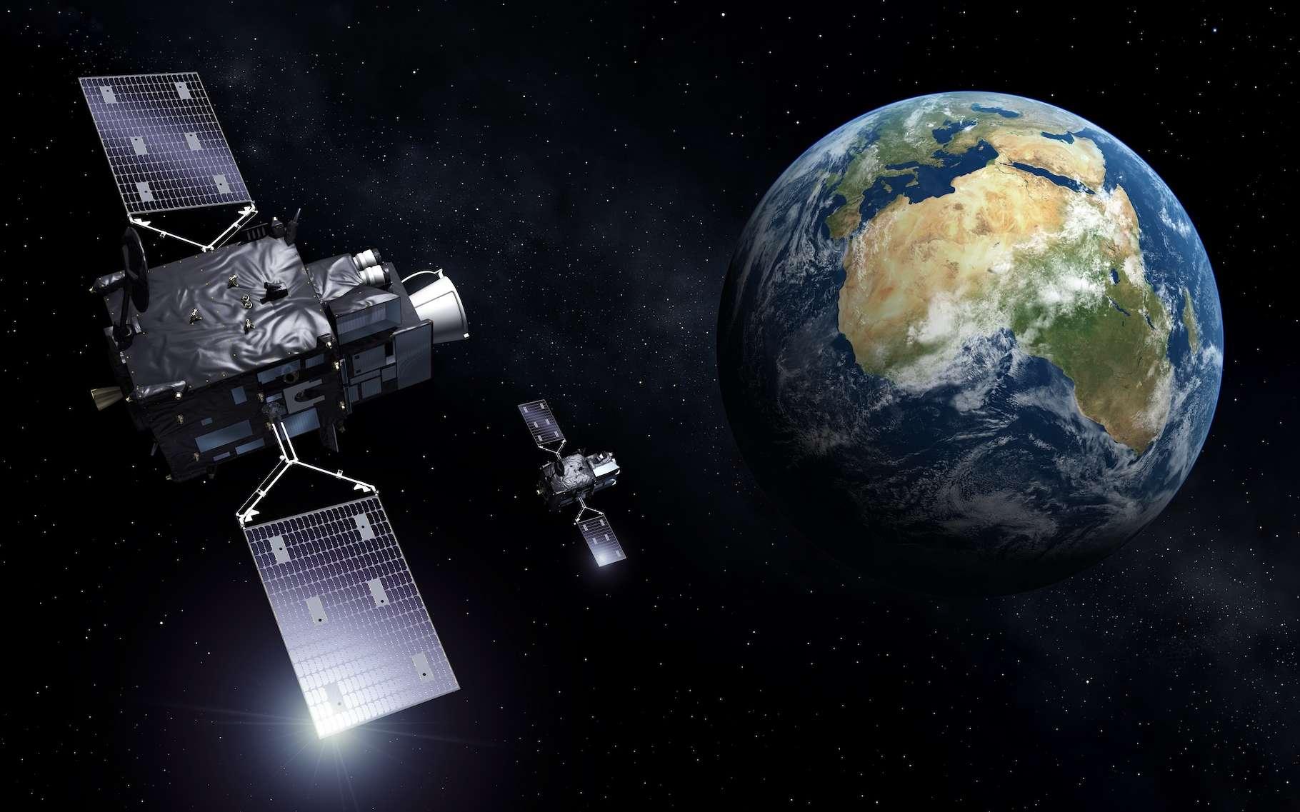 Les satellites météorologiques tels sur MeteoSat (ESA) sont placés sur une orbite géostationnaire. © ESA, CC by-SA 3.0 IGO