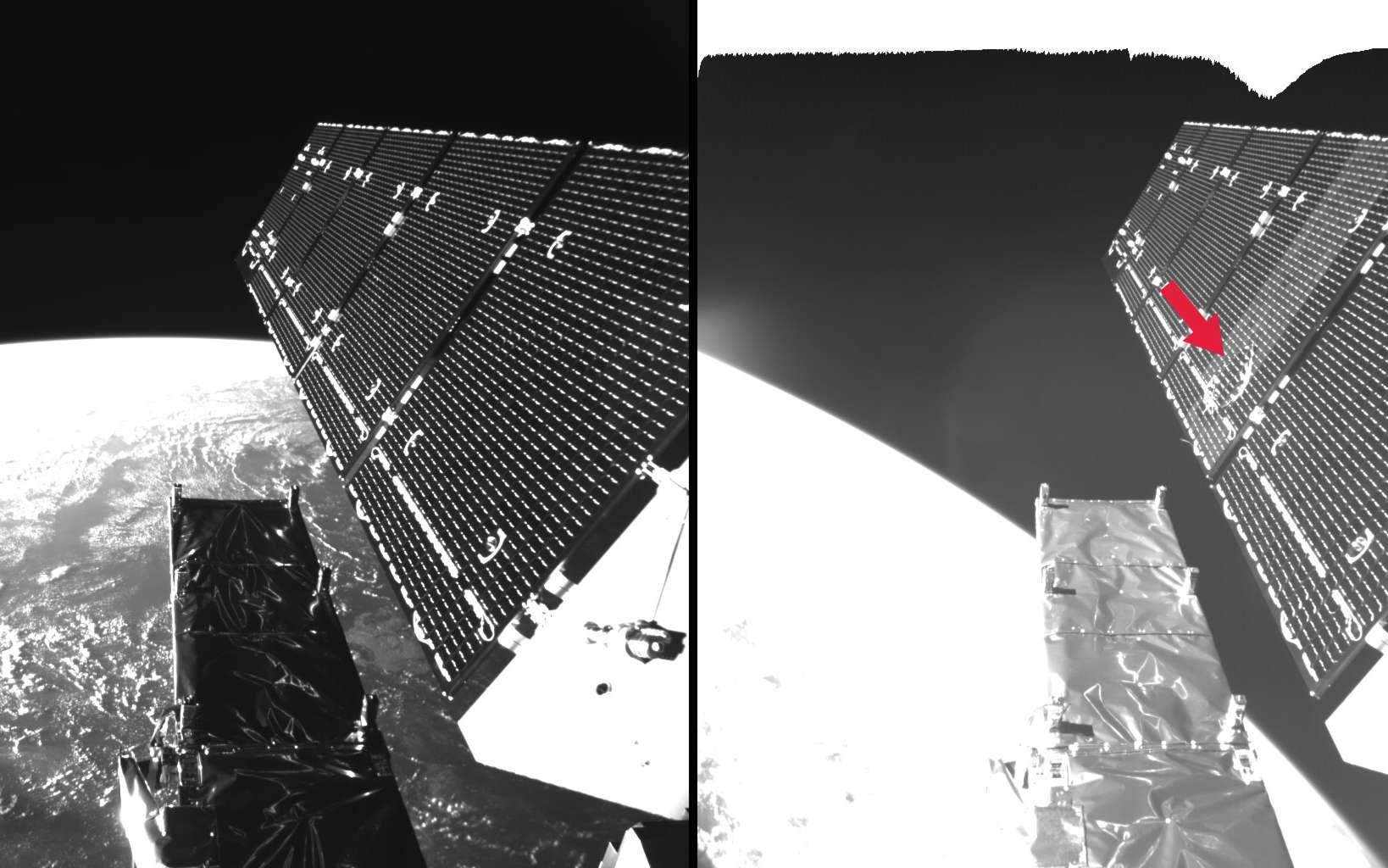 Le panneaux solaires, avant et après l'impact d'un débris contre sa surface, en août 2016. © ESA