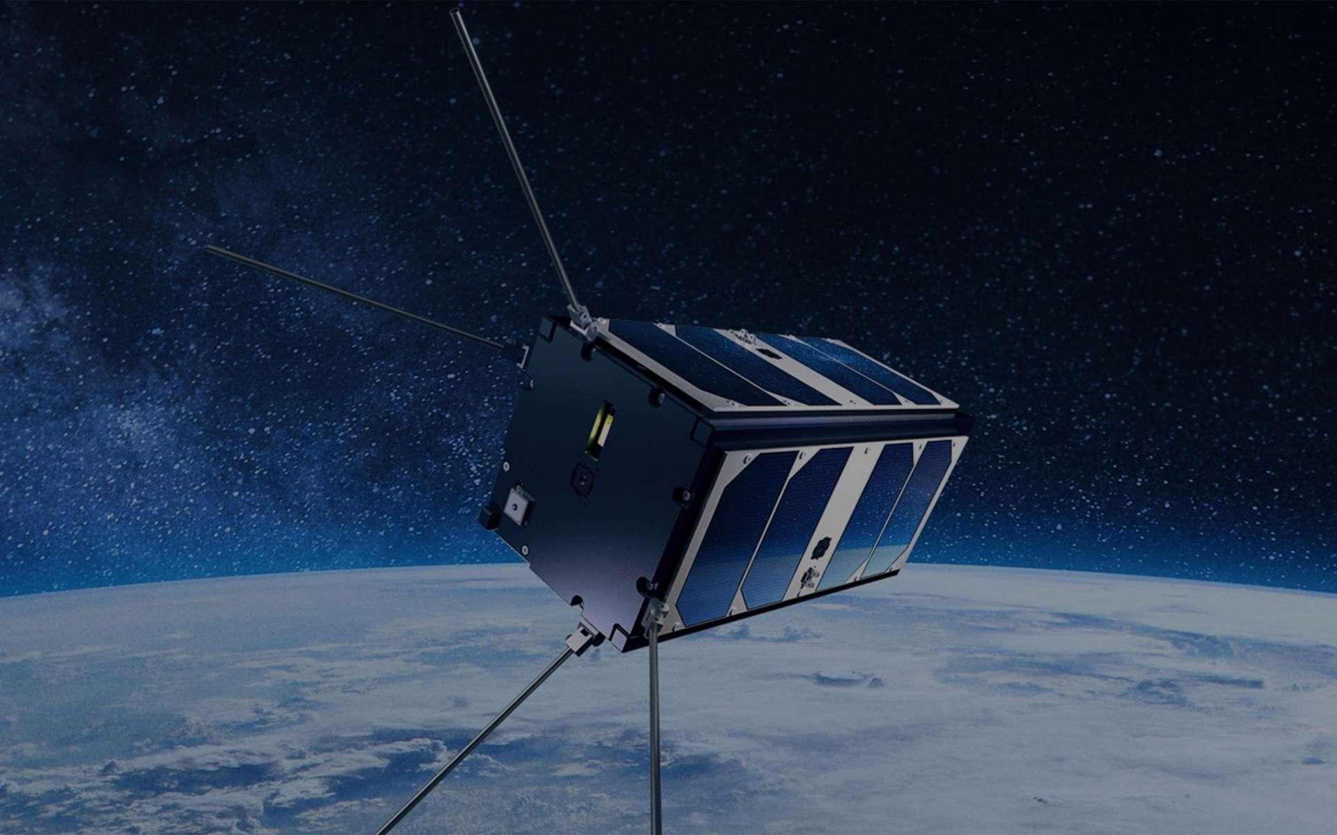 Vue d'artiste d'Aragosat-1, le satellite d'IPSA One réalisé par des étudiants de l'école d'ingénieurs en aéronautique et spatial (IPSA). © IPSA One