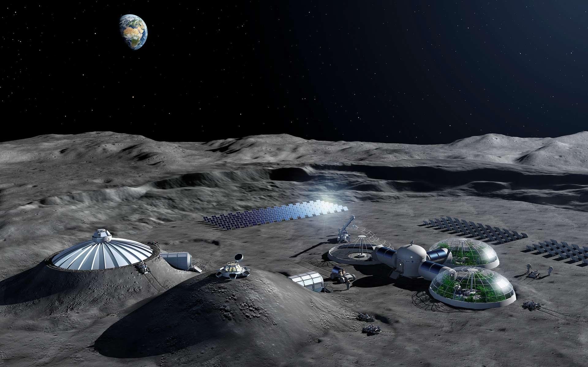 Un des nombreux concepts de base lunaire étudier par l'ESA. En complément d'infrastructures construites sur place ou envoyées depuis la Terre, la « colonisation » de tunnels de lave ou de grottes pourrait être une alternative à une base lunaire en dur, ou plus certainement servir de poste avancé, voire de base de repli. © ESA, P. Carril
