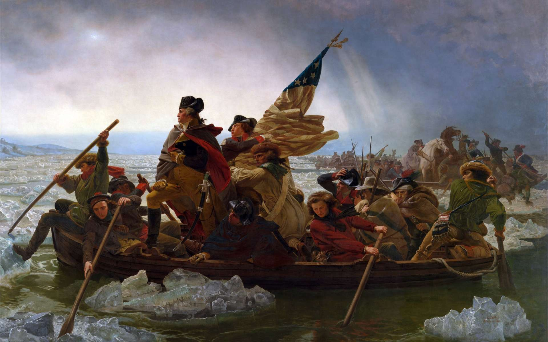 Washington traversant le Delaware, lors de la bataille à Trenton, le 26 décembre 1776. Le drapeau compte treize étoiles placées en cercle. © Peinture d'Emanuel Leutze, Metropolitan Museum of Art, Wikimedia Commons, DP