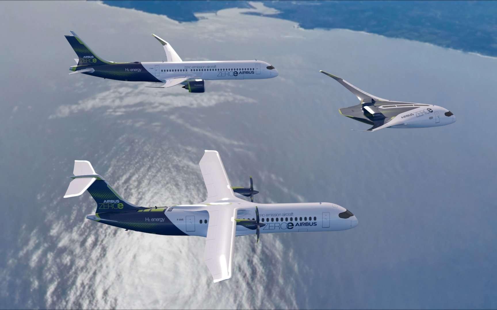 En 2035, Airbus prévoit de faire voler le premier avion commercial zéro émission avec trois concepts d'avion propulsés à l'hydrogène. © Airbus