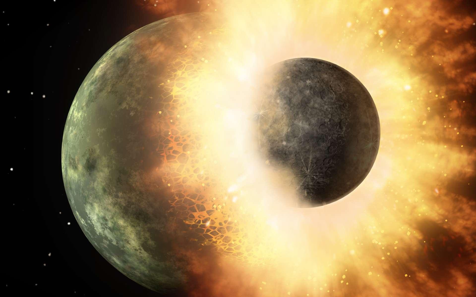 Une autre vue d'artiste montrant la collision de Théia et de la Terre. Là aussi, la grande taille de Théia apparaît conforme à l'un des derniers scénarios proposés pour la formation de la Lune. © Nasa